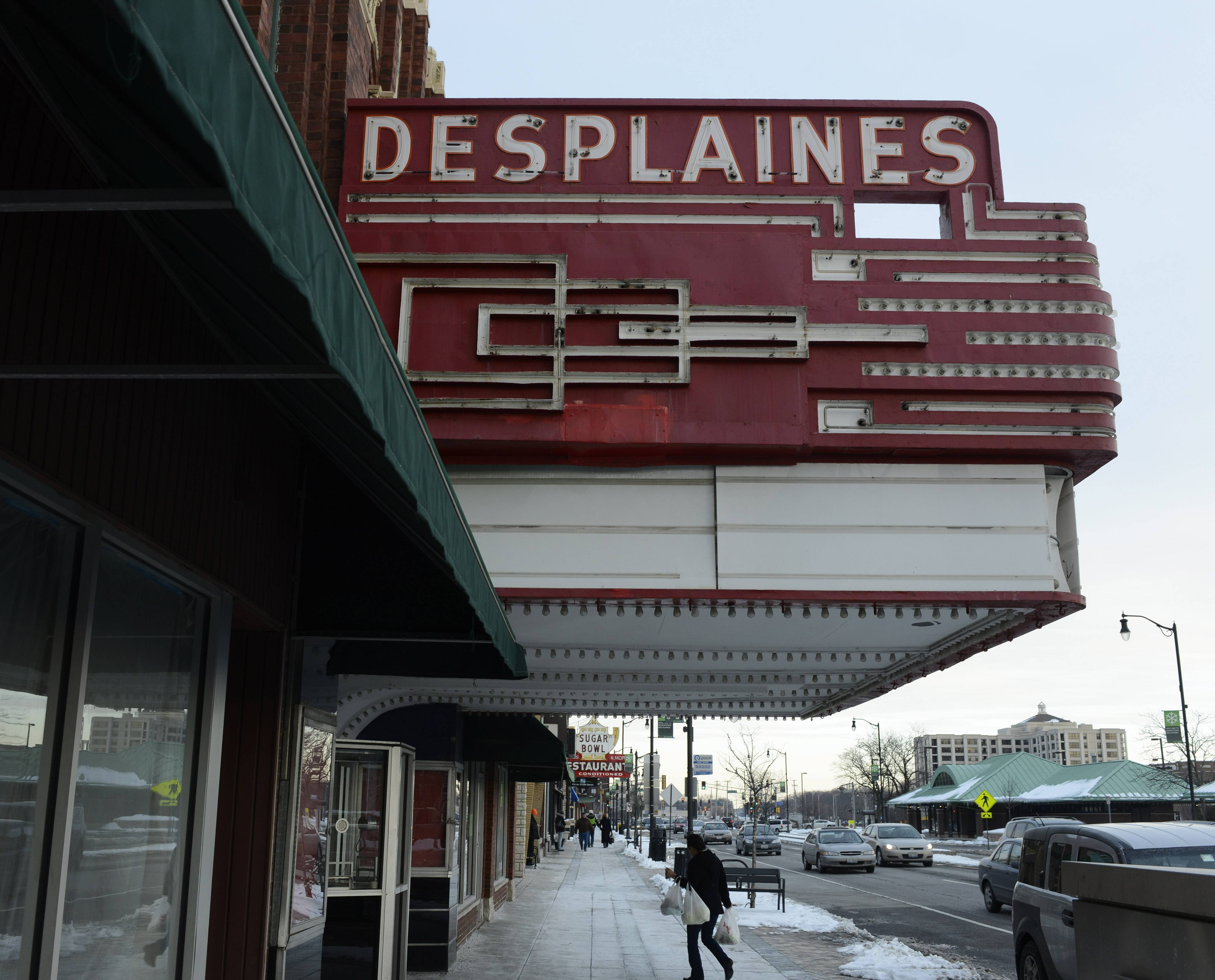 This is the exterior of the Des Plaines Theatre, which is currently closed. The owner is working to resolve code violations and hopes to reopen soon.
