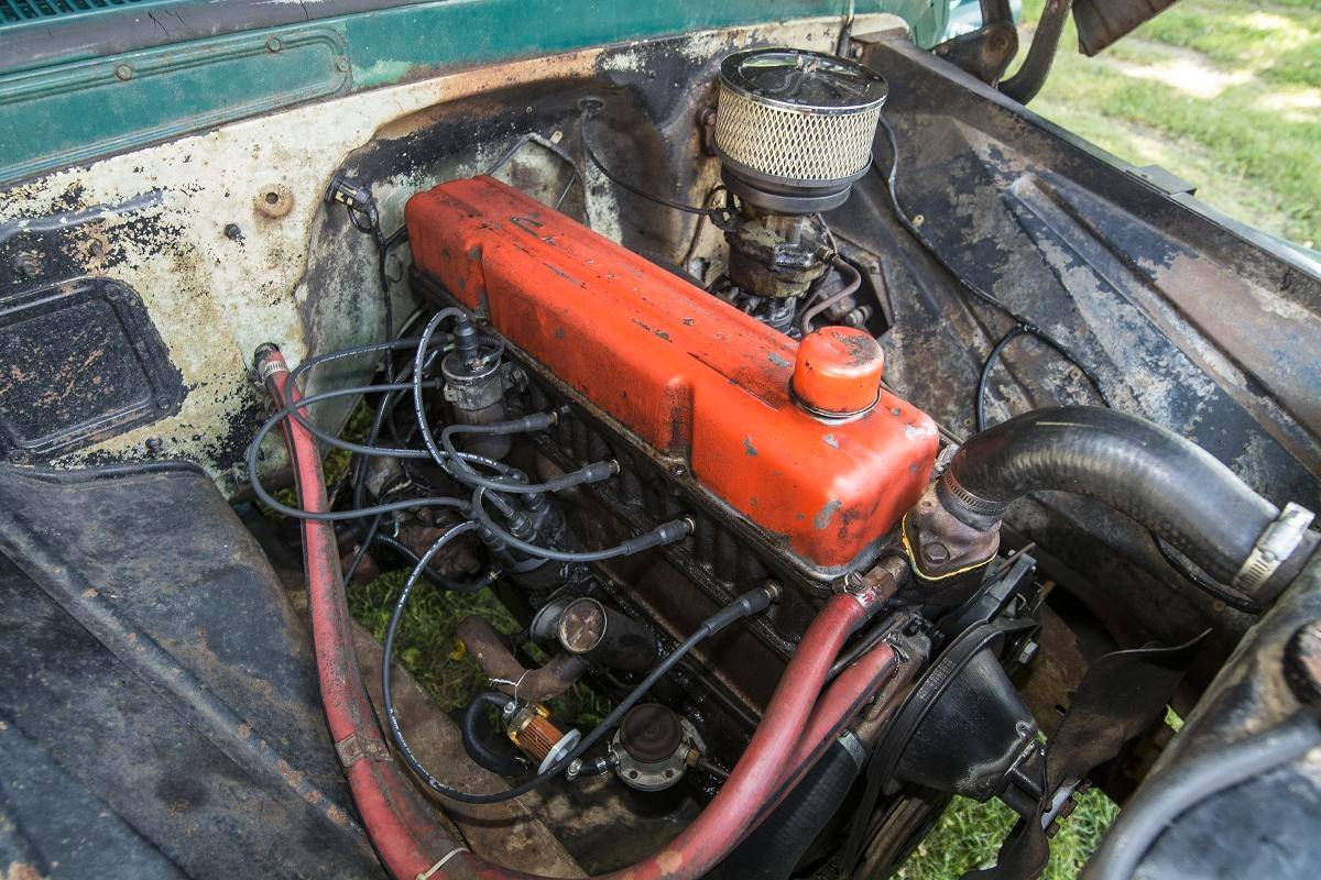 A inline six-cylinder engine powers the pickup, which was parked for 35 years on a family farm in Missouri.