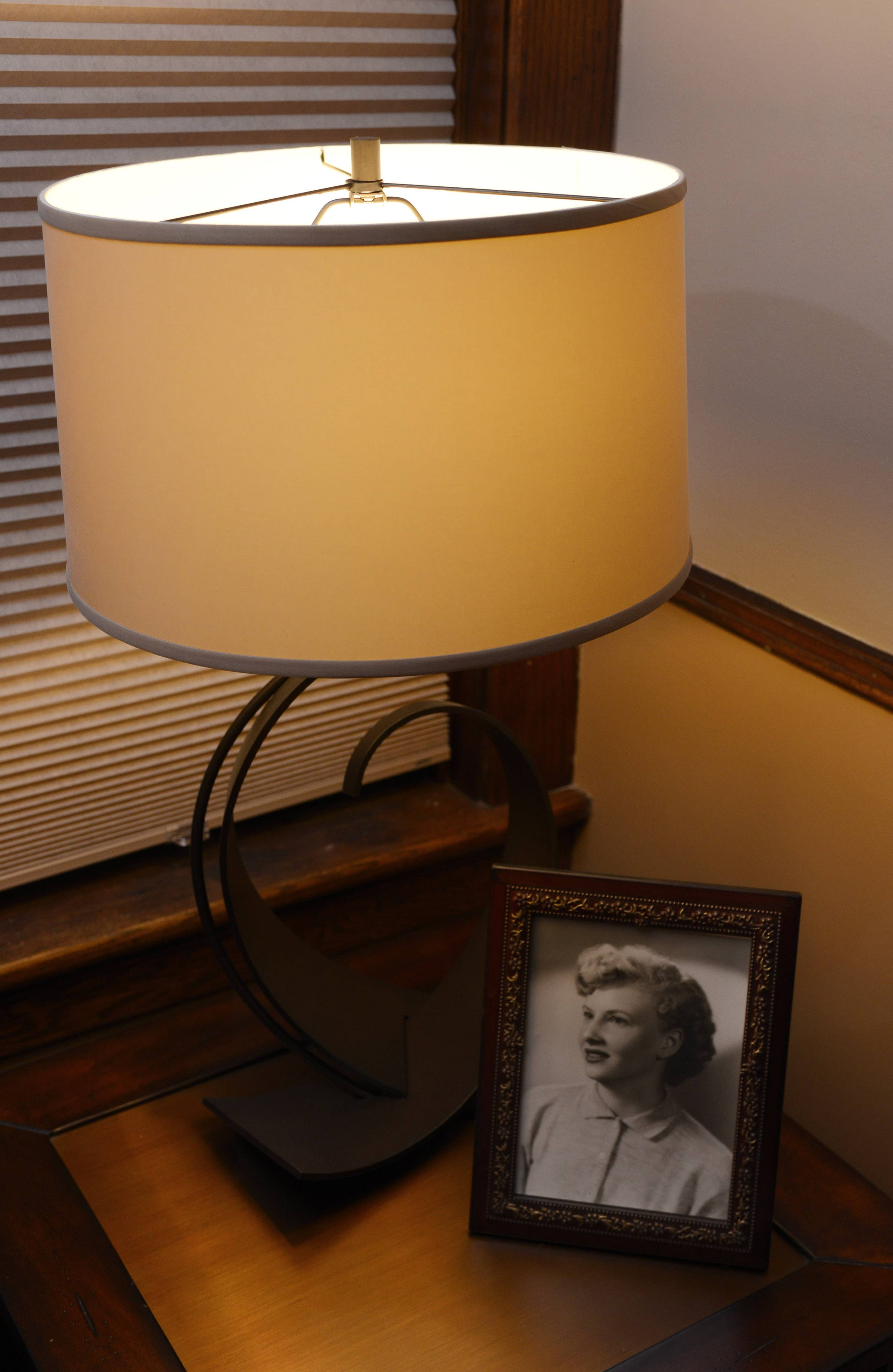 :Sharon Brown chose a wrought iron lamp from Littman Bros. Lighting.
