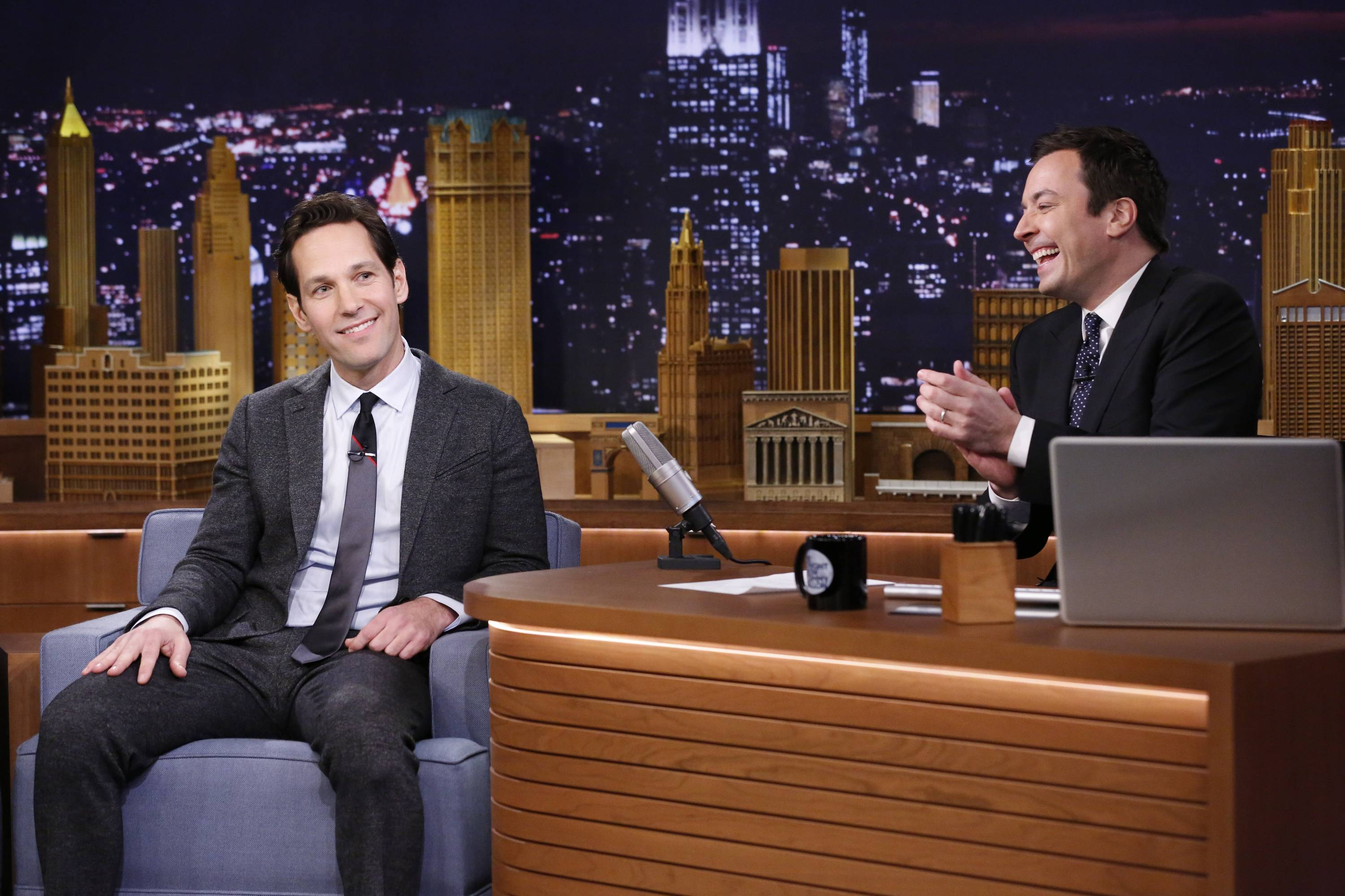 "Paul Rudd, left, with host Jimmy Fallon during an interview on ""The Tonight Show Starring Jimmy Fallon"" in New York. One month in, and NBC's generational trade of Jay Leno for Jimmy Fallon at the ""Tonight"" show is succeeding beyond the dreams of network honchos."
