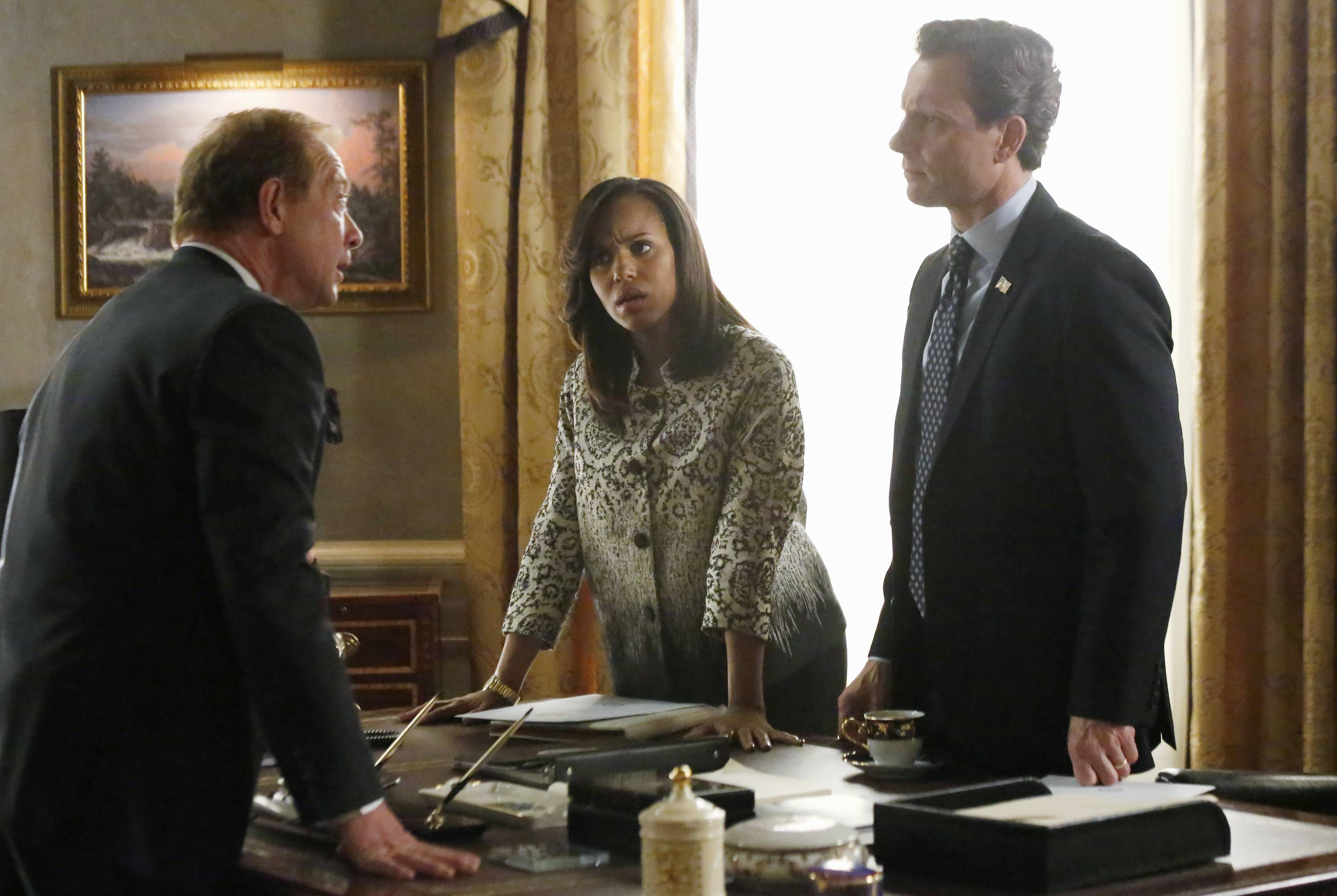 "Jeff Perry, Kerry Washington and Tony Goldwyn in a scene from ""Scandal."""