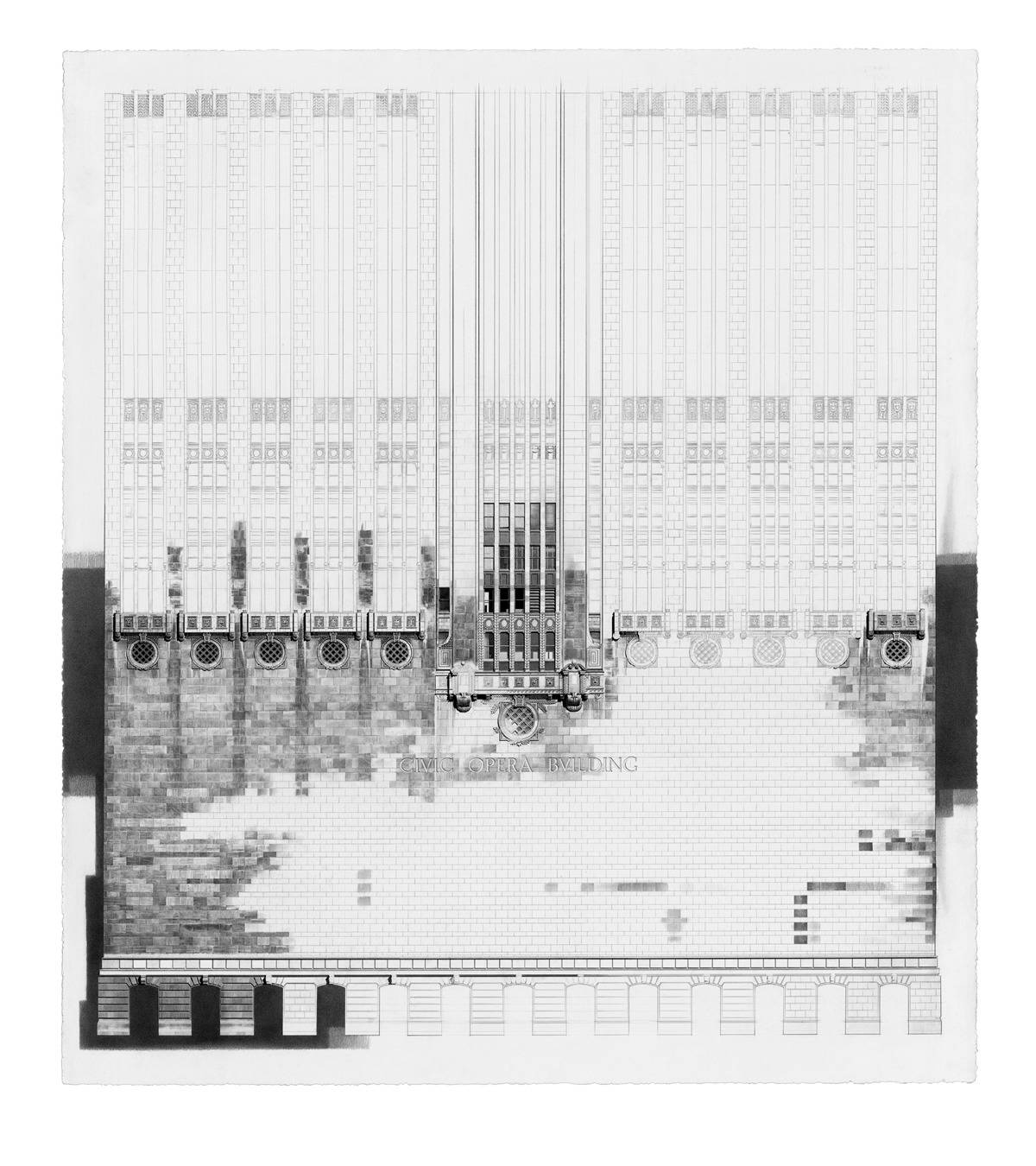 Jack Nixon of Wilmette has a love for architecture and ornamental detail. He creates large-scale drawings of Chicago architectural landmarks like the Civic Opera House.