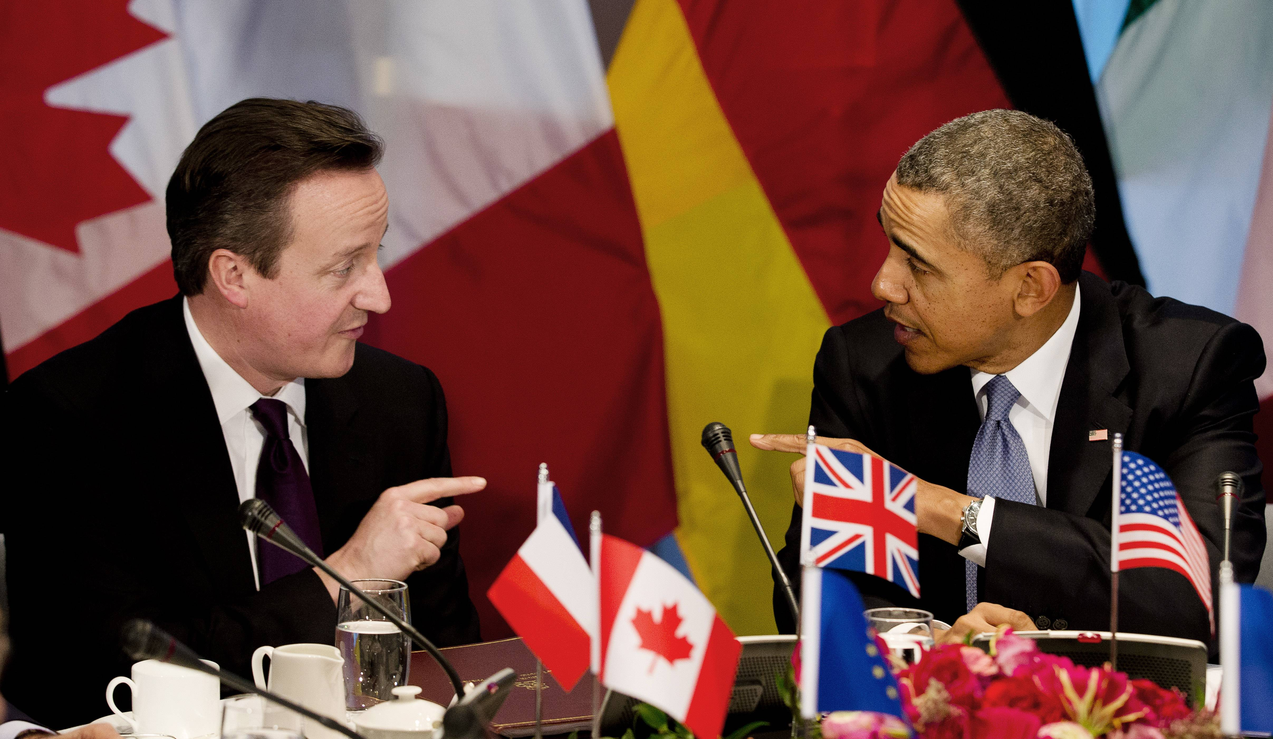 President Barack Obama and British Prime Minister David Cameron, left, took part in a meeting of G7 world leaders in The Hague, Netherlands. The focus of the hurriedly scheduled meeting was to address the crisis in Ukraine.