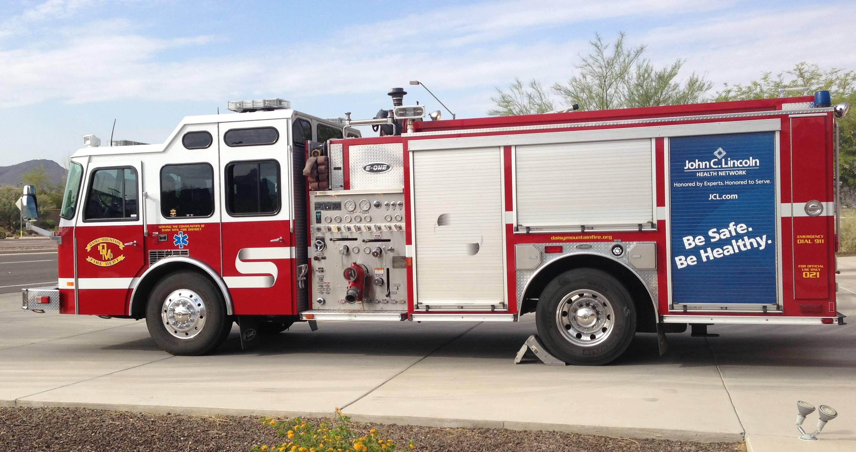 An Arizona fire truck bears an advertisement placed on the truck in the same place that new ads will be placed on the fire truck from the Palatine Rural Fire Protection District.