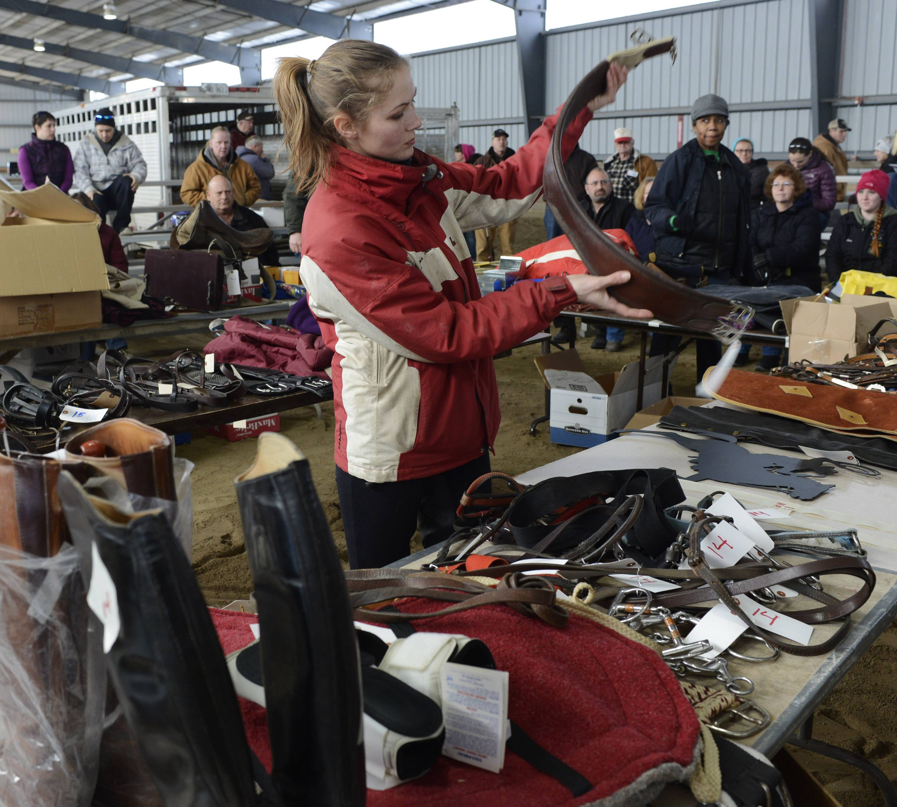 Jessica Janis, of Warrenville, views items prior to the Fox Valley Saddle Association consignment auction in Hampshire Sunday.