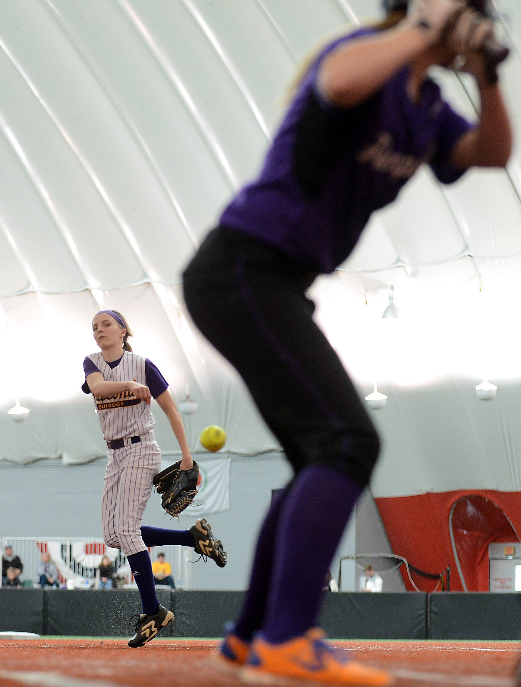 Wauconda's Kayla Wedl delivers a pitch during softball action against Hampshire Monday at The Dome in Rosemont.