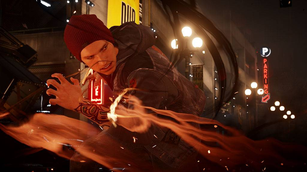 "Deslin Rowe, a superpowered rabble-rouser, can absorb the powers of other so-called ""conduits"" in ""inFamous: Second Son."""