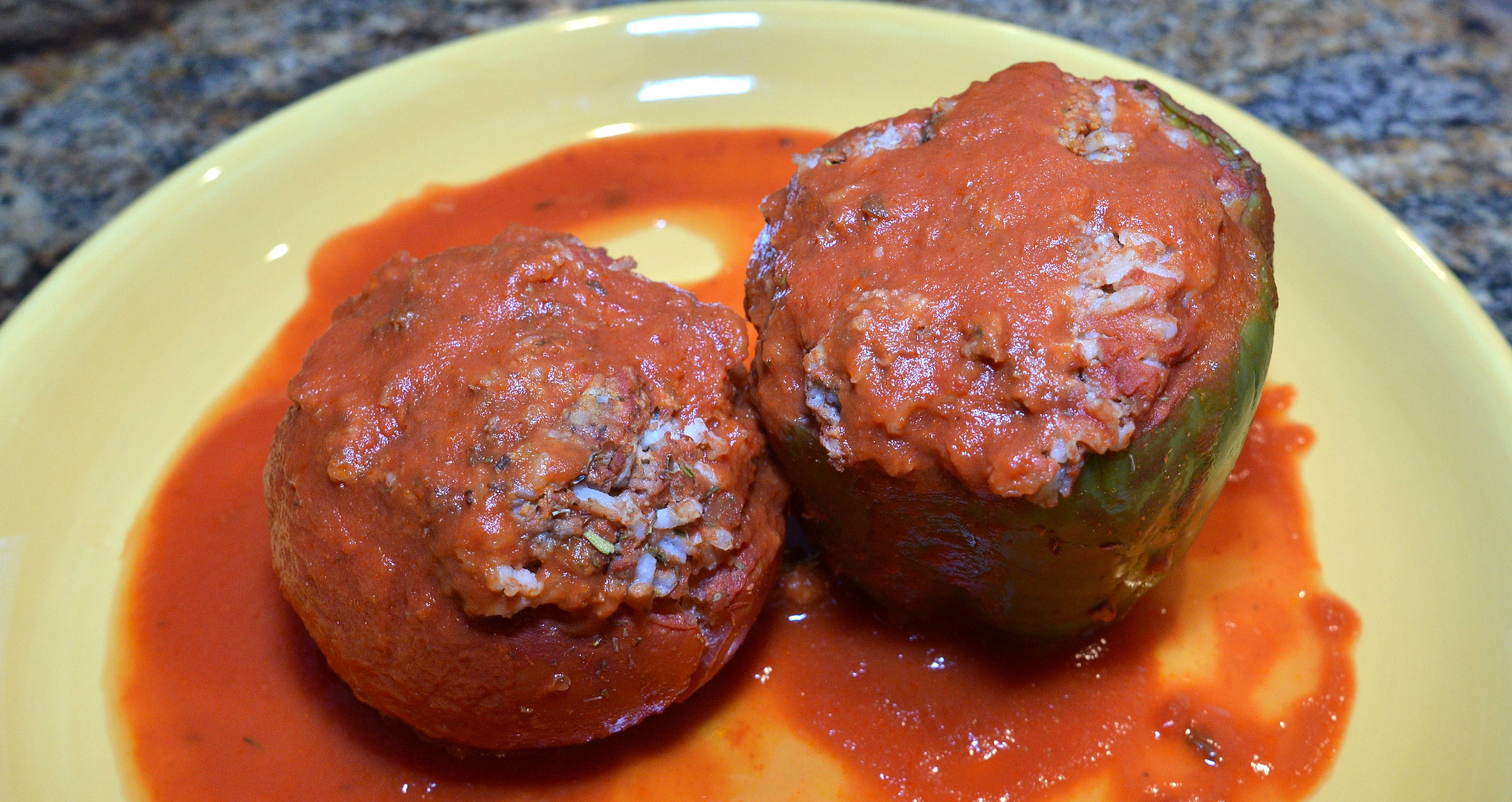 Beef, rice and onion go into the filling for Christine Crabtree's stuffed peppers and tomatoes.