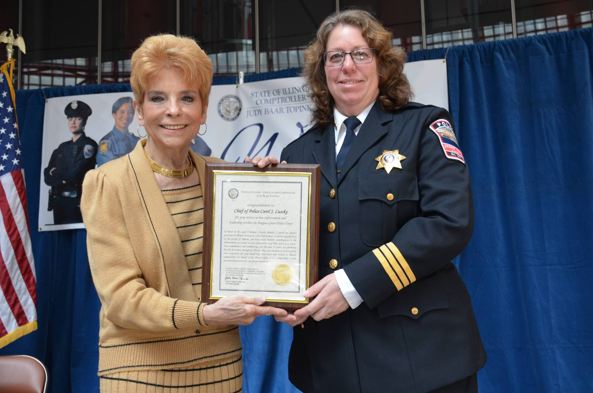 Illinois Comptroller Judy Baar Topinka, left, honored female law enforcement leaders, including Pingree Grove Police Chief Carol Lussky as part of Women's History Month.