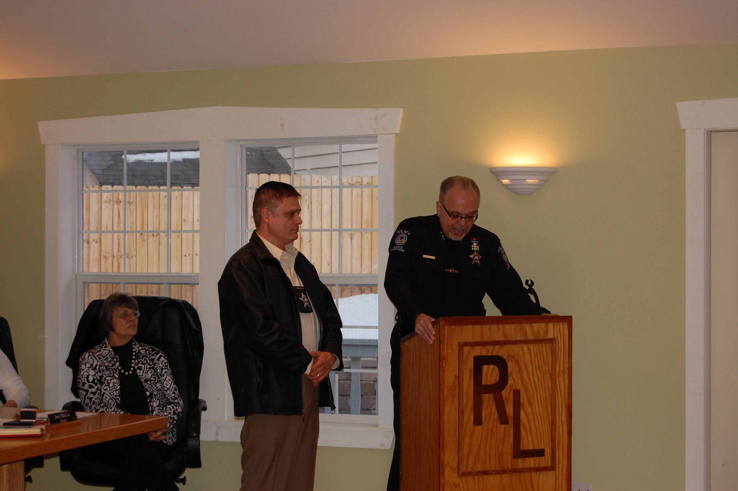 Round Lake Park police officer Waymon Vela was presented with the Chief's Achievement Award.