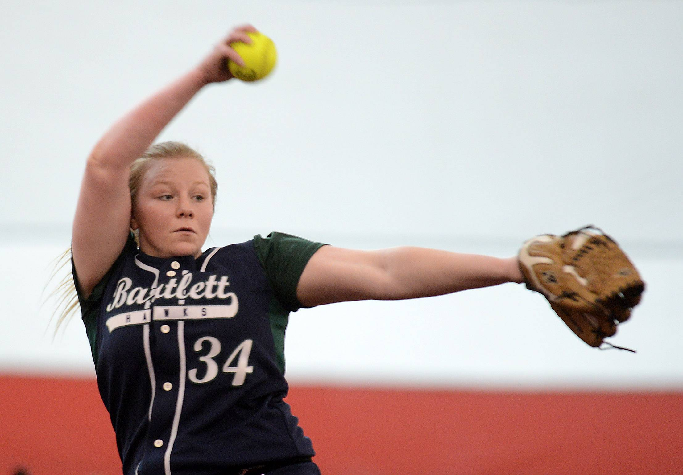 Bartlett's Amy Johnson delivers a pitch against Plainfield Central during softball action Tuesday in Rosemont.