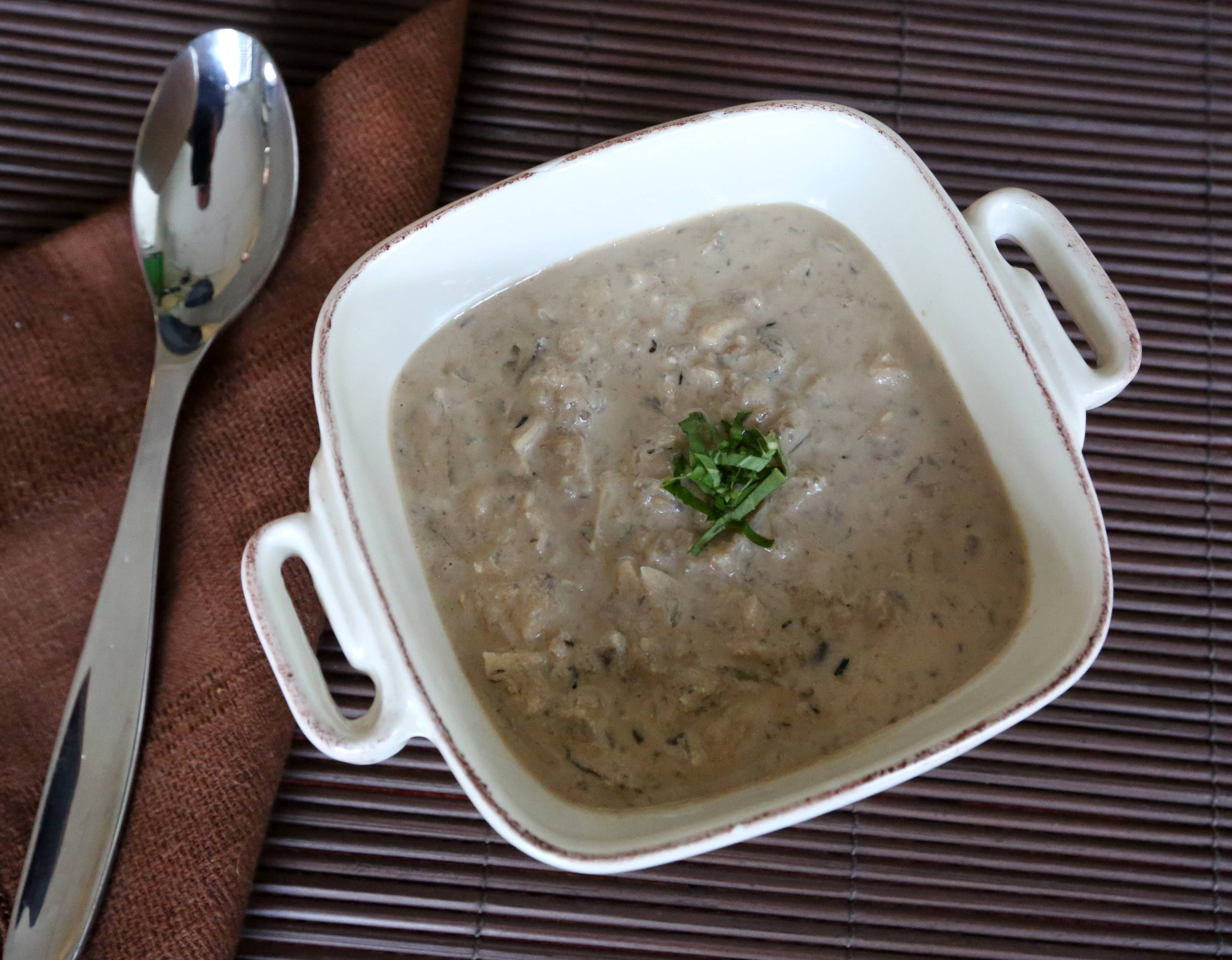 Walnut paste gives mushroom soup creaminess sans cholesterol
