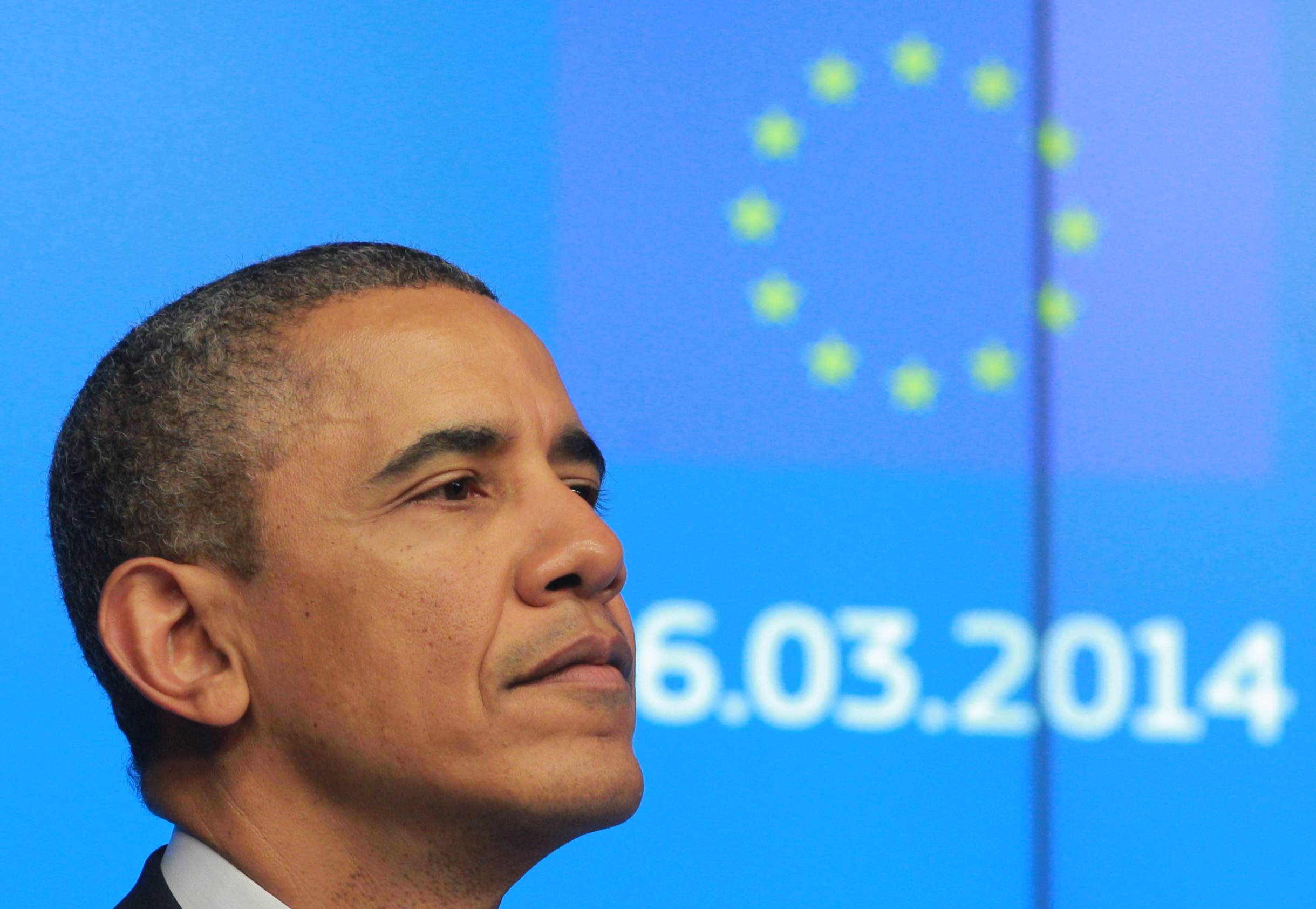 President Barack Obama and European Union leaders presented a unified front Wednesday against Russia's annexation of Crimea, promoting trans-Atlantic trade as an antidote to Russia's influence in the region and a way to help Europe become less dependent on Moscow for energy.