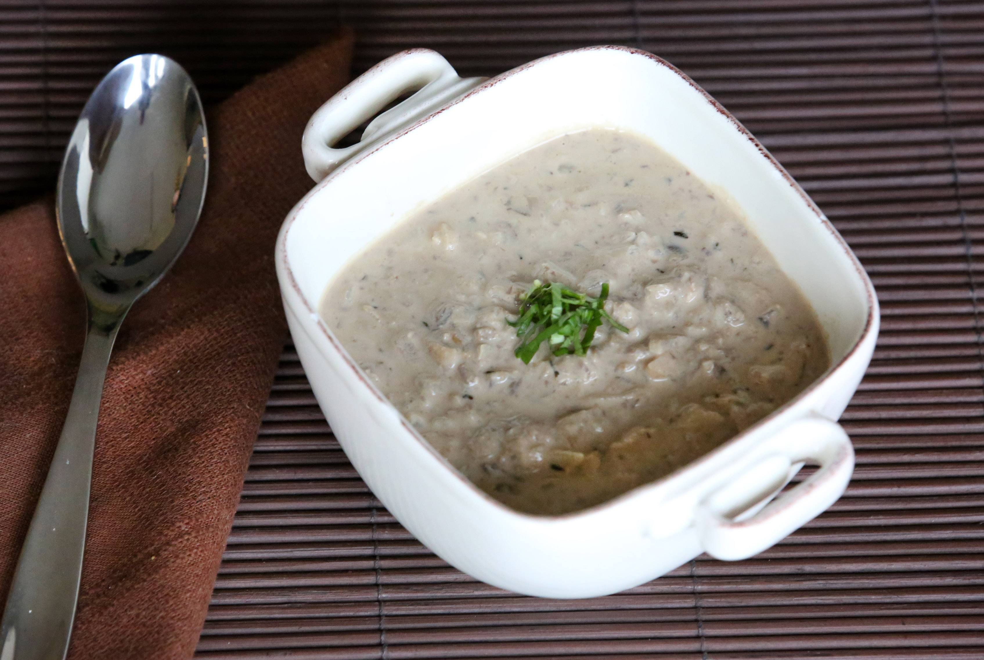 Walnut Mushroom Soup gets its creaminess from blended almond milk and mushrooms.