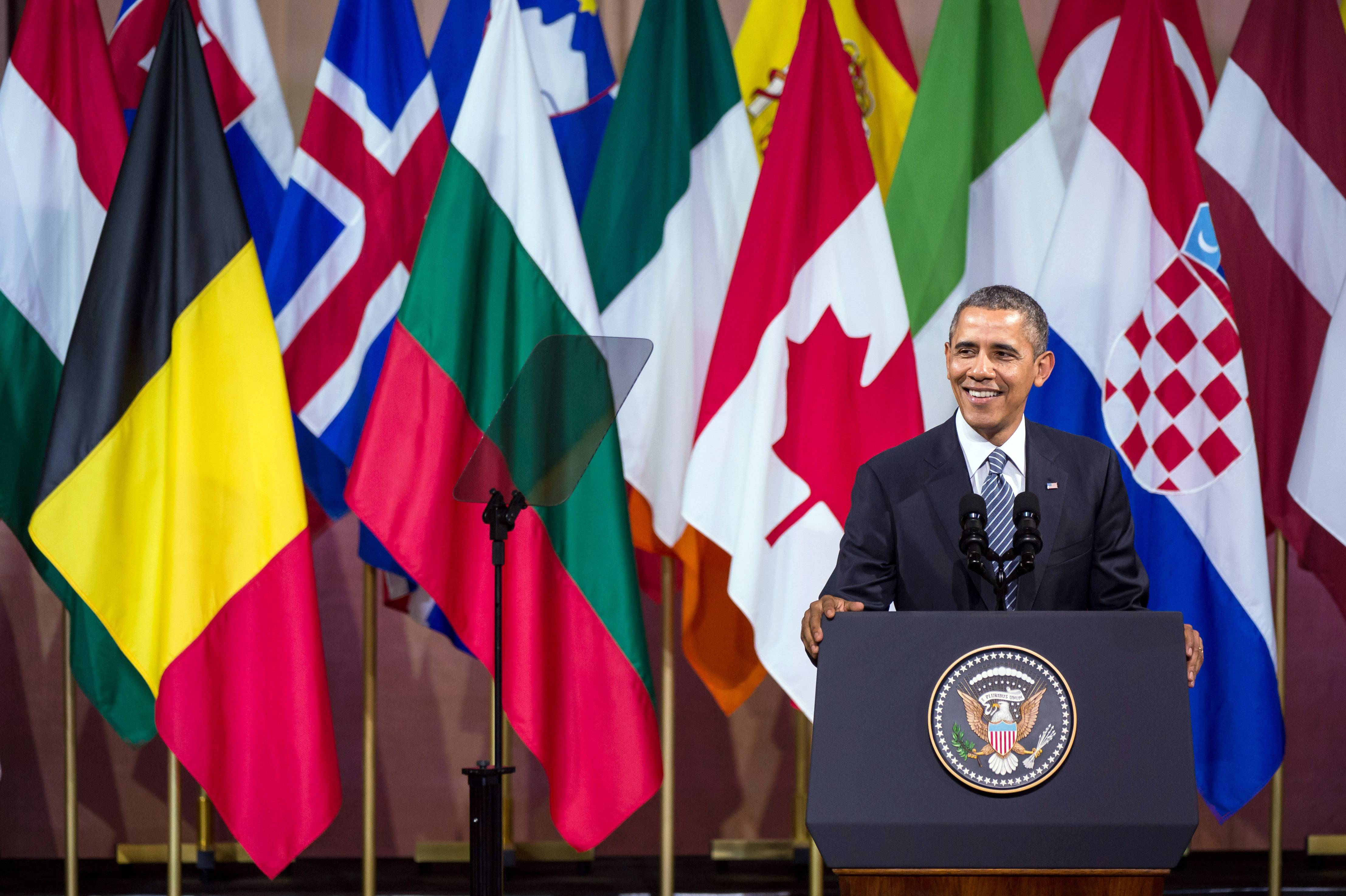 President Barack Obama, in Brussels on Wednesday, appealed to Europeans on Wednesday to retrench behind the war-won ideals of freedom and human dignity, declaring that those advocating those values will ultimately triumph in Ukraine.