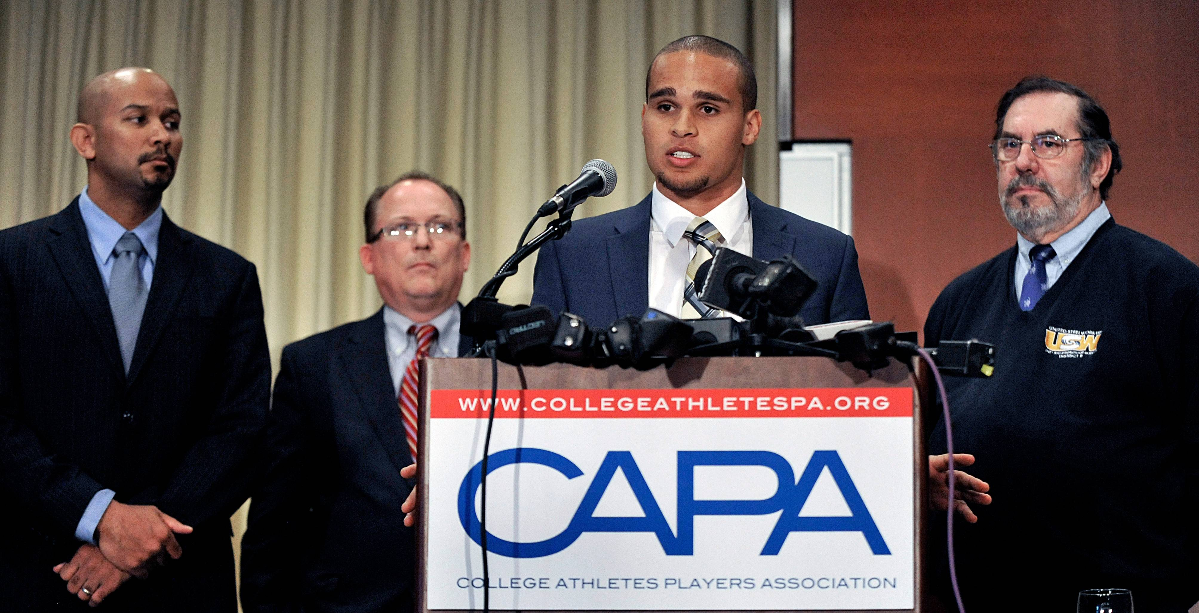 Northwestern quarterback Kain Colter, second from right, took a leading role in establishing the College Athletes Players Association, or CAPA, which would take the lead in organizing the players now that the National Labor Relations Board said football players at Northwestern University can create the nation's first college athlete's union.