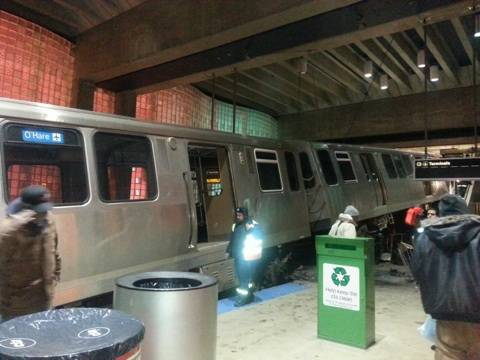 More than 30 were hurt after a Chicago Transit Authority train derailed at the O'Hare Airport station early Monday.