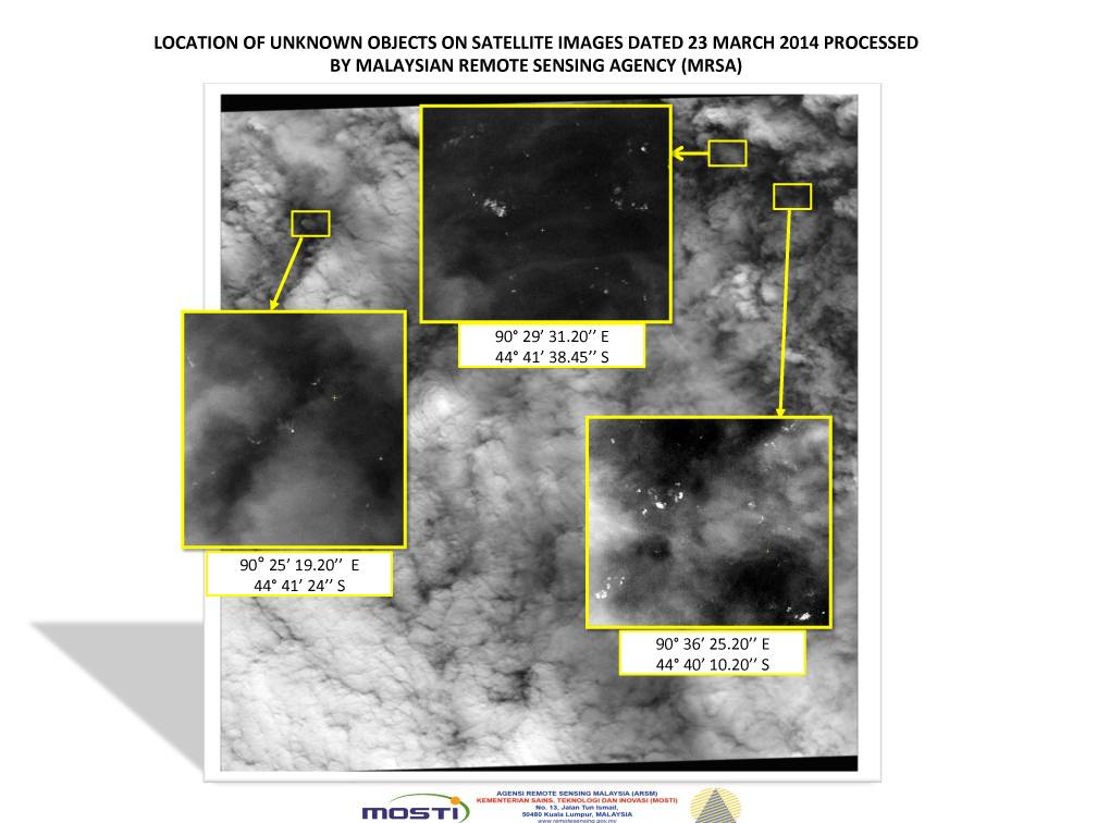 This graphic shows satellite imagery taken on March 23, with the approximate positions of objects seen floating in the southern Indian Ocean in the search zone for the missing Malaysia Airlines Flight 370. Malaysian officials said a satellite has captured images of 122 objects close to where three other satellites previously detected objects.