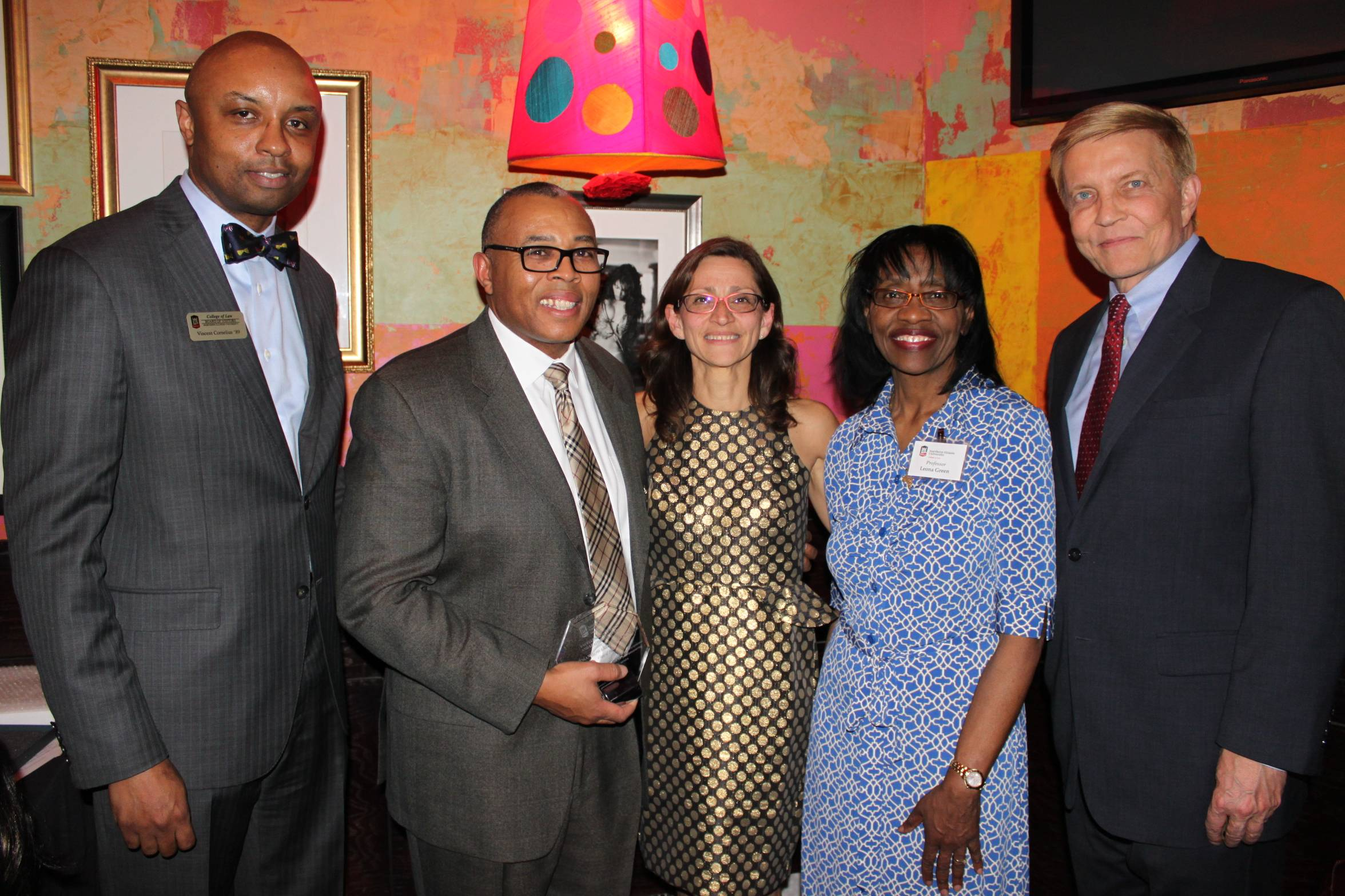 NIU College of Law held its 11th annual Minority Reception hosted by Dean Rosato and alumnus Vincent F. Cornelius ('89). Pictured, from left, are Vincent F. Cornelius ('89), 21st Ward Alderman Howard B. Brookins Jr. ('88), Dean Jennifer Rosato, Professor Leona Green, and 2nd Ward Alderman Bob Fioretti ('78).  Brookins received the Excellence in Service and Leadership Award and Professor Green was honored for her commitment to students, service to NIU Law, and being a champion of diversity.