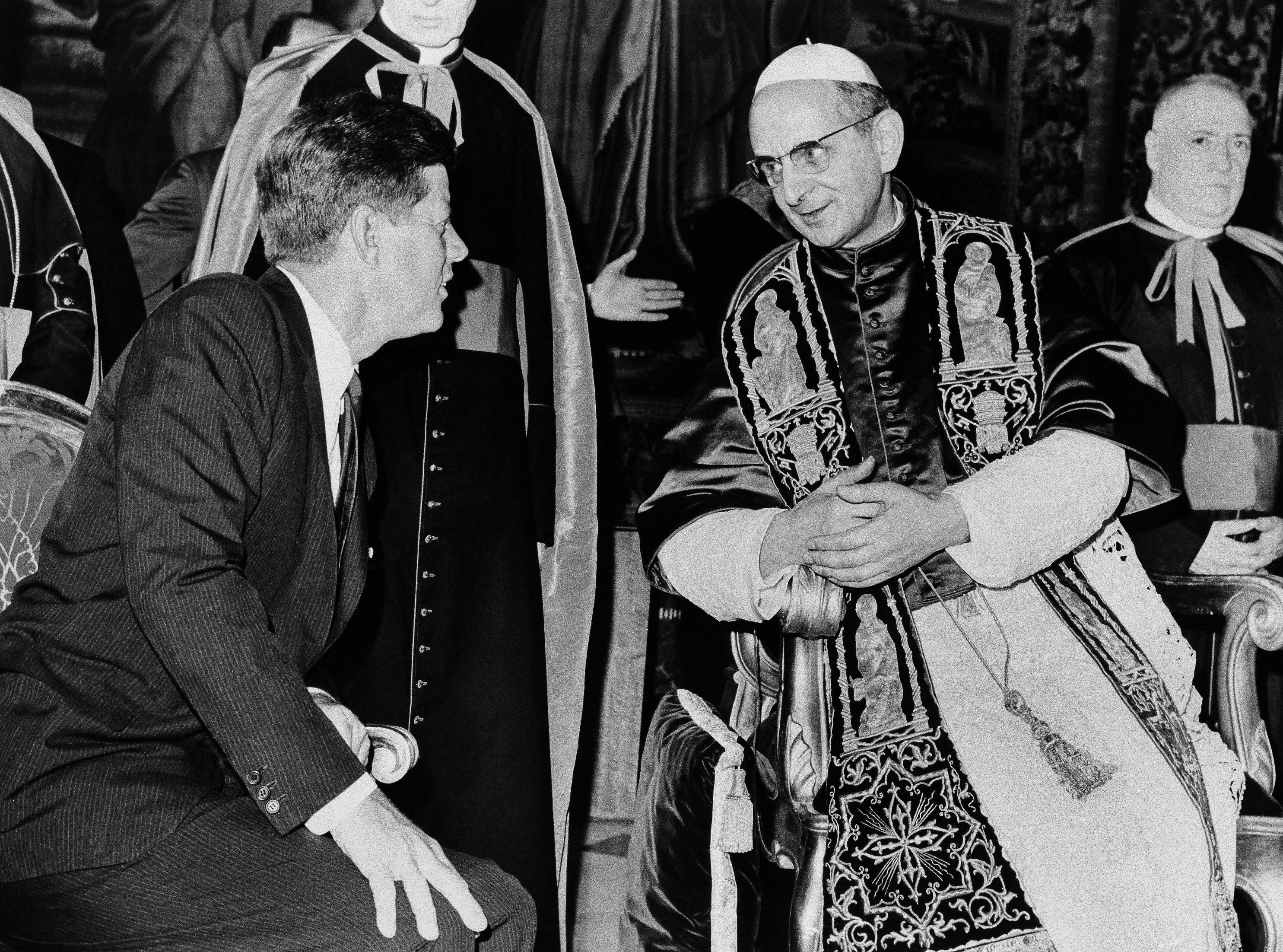 President John F. Kennedy and Pope Paul VI talk at the Vatican.