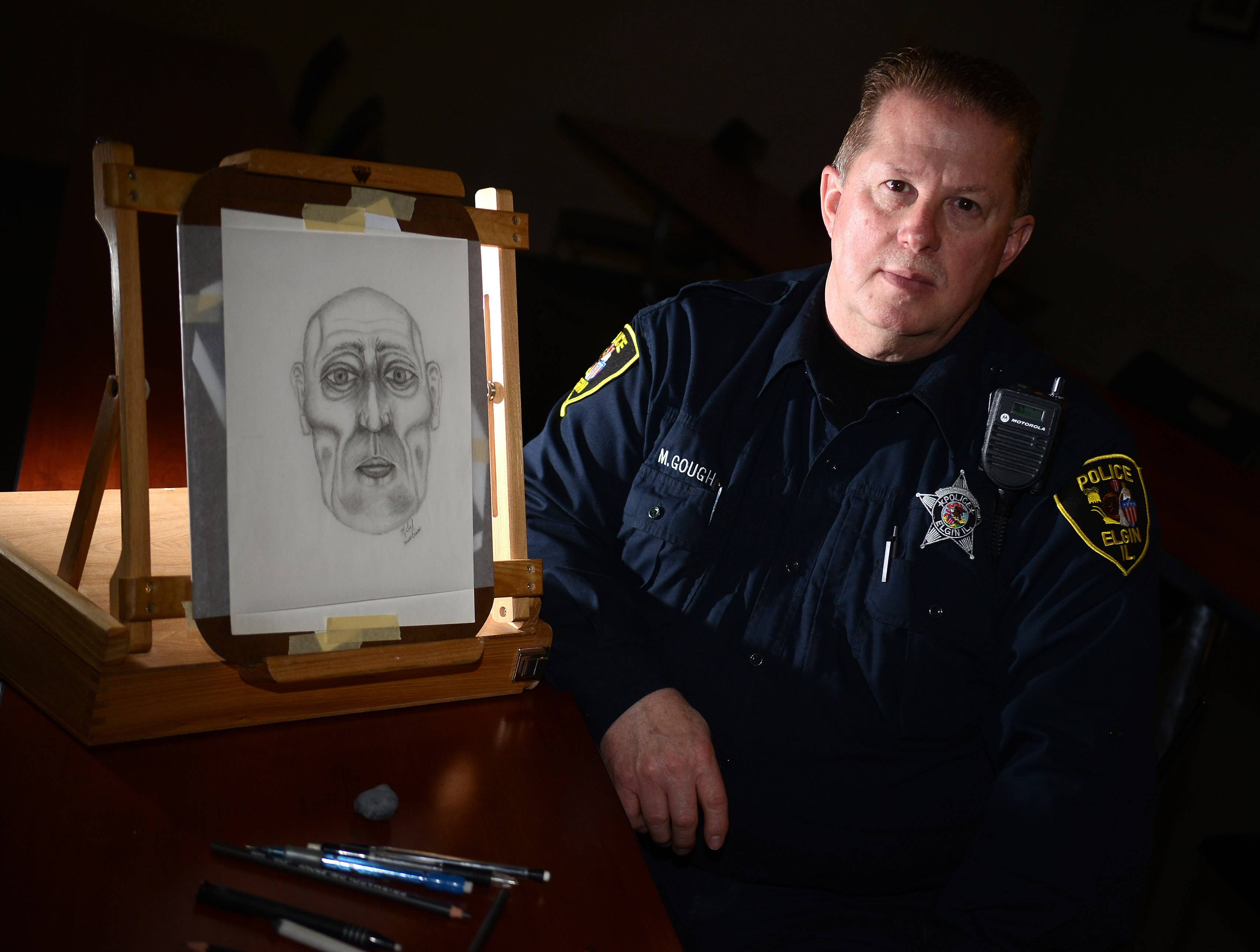 Elgin Police Department sketch artist officer Mike Gough is retiring April 4 after 30 years on the job. The sketch at left is one he made from a skull. Composites, on the other hand, are based solely on victims and witnesses' accounts.