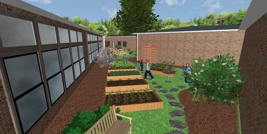 This is a rendering of what the outdoor classroom and garden at Whittier Elementary School in Wheaton will look like when it is completed. Most of the work is expected to be done by the beginning of June.