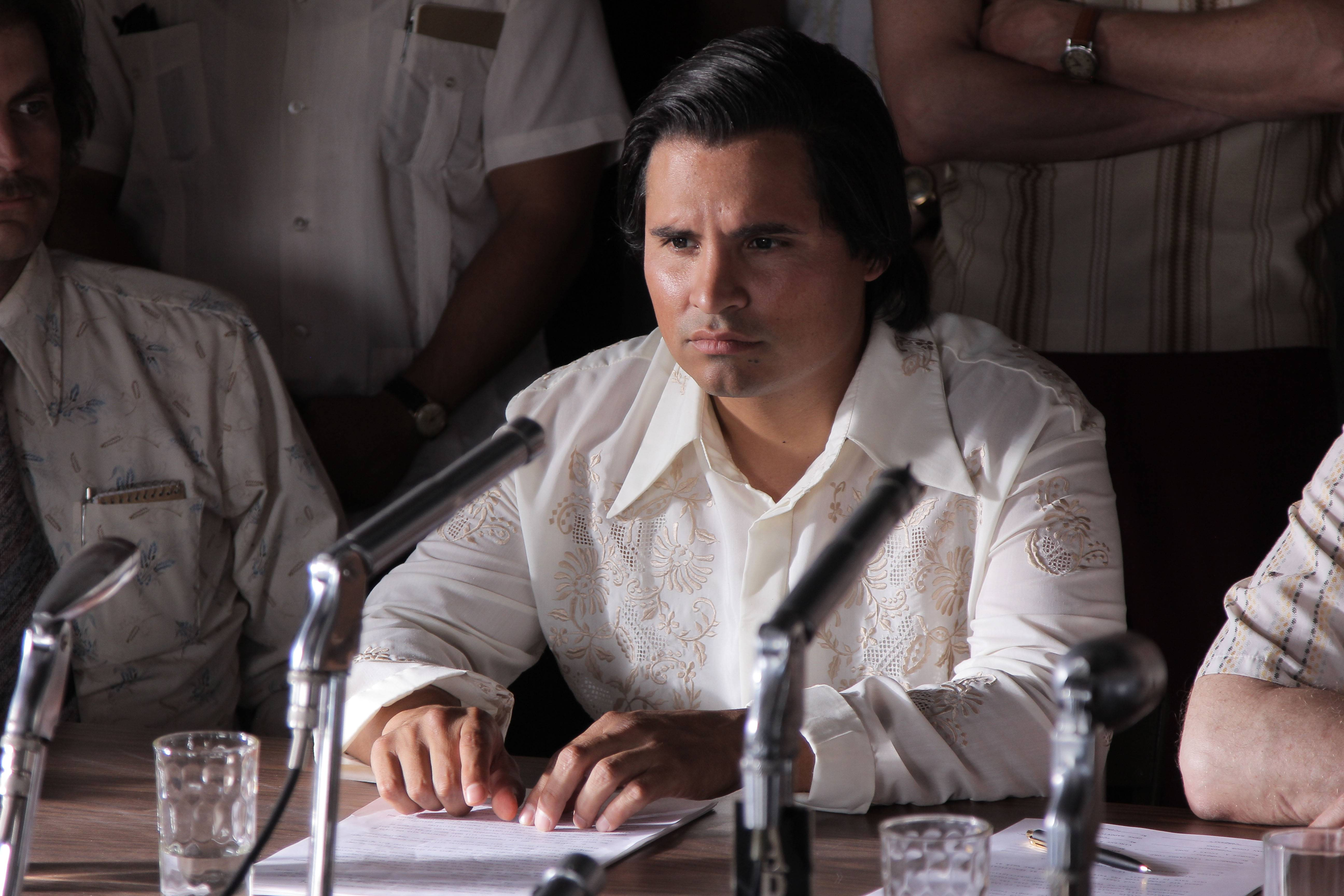 "Cesar Chavez (Michael Pena) fights for the rights of farm workers in ""Cesar Chavez."""