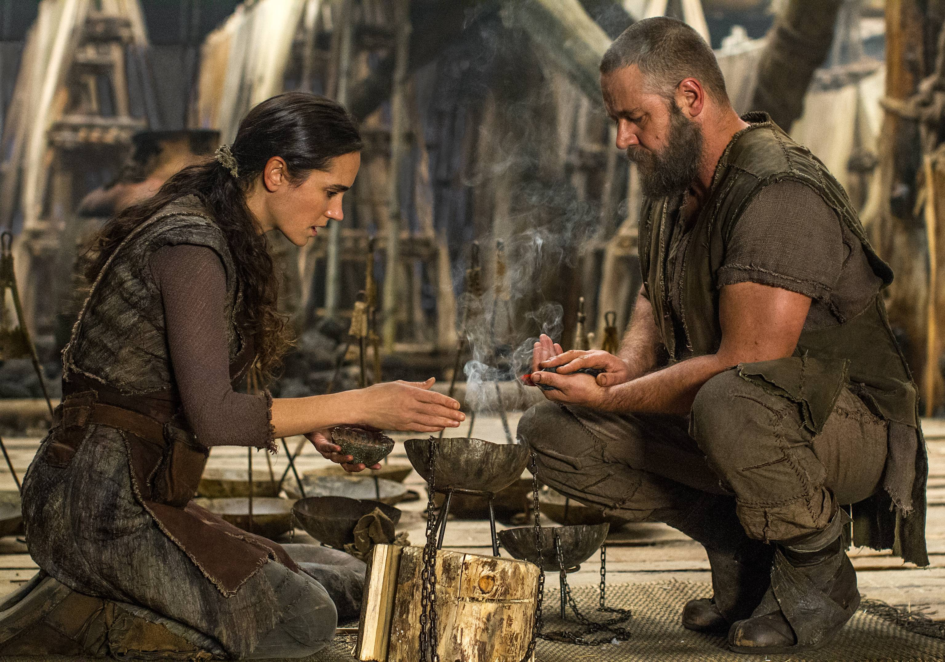"Naameh (Jennifer Connelly) and Noah (Russell Crowe) prepare for what's to come in ""Noah."""