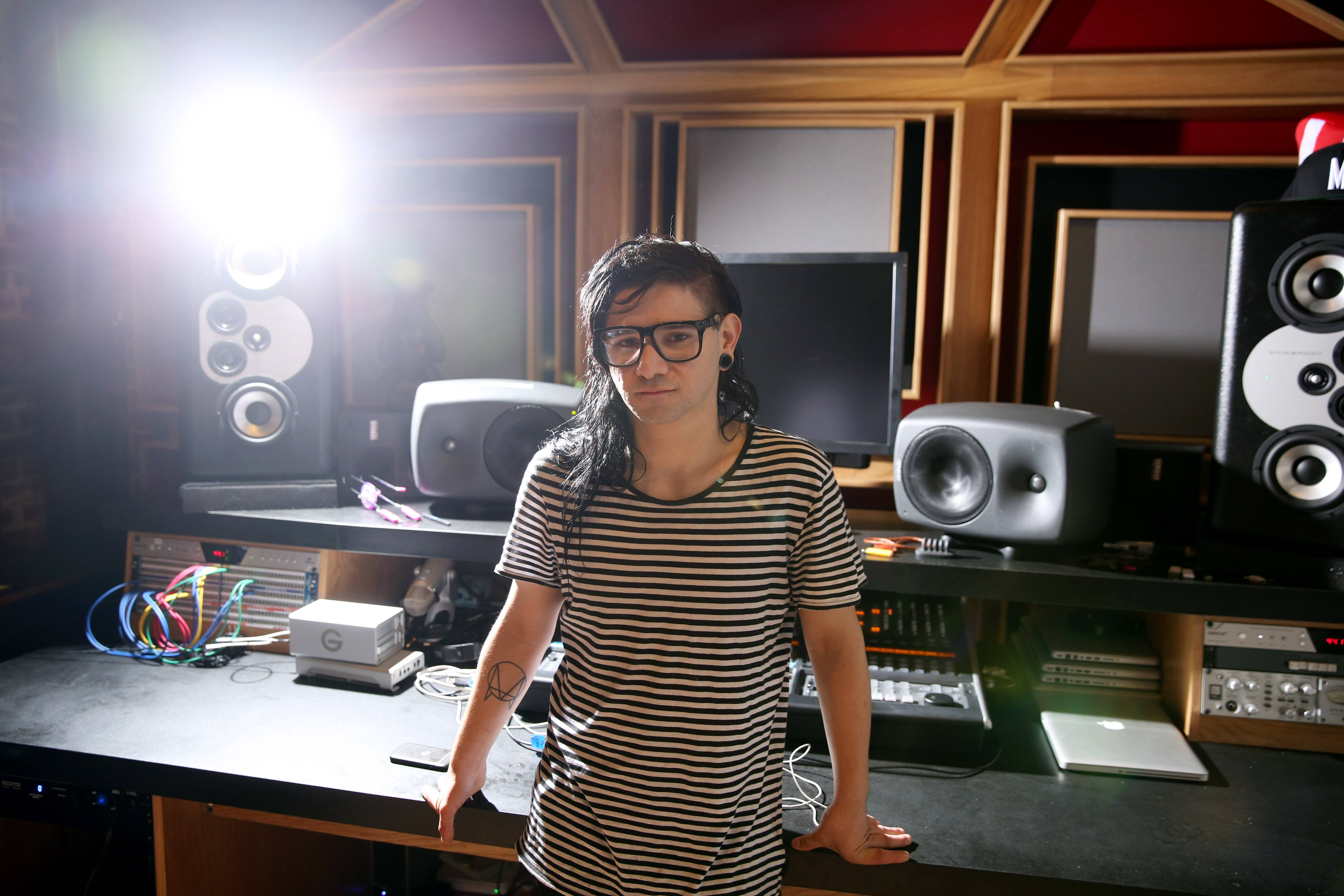 "Electronic music DJ and producer, Skrillex, whose real name is Sonny Moore, recorded his first official album, ""Recess,"" as he toured the world."