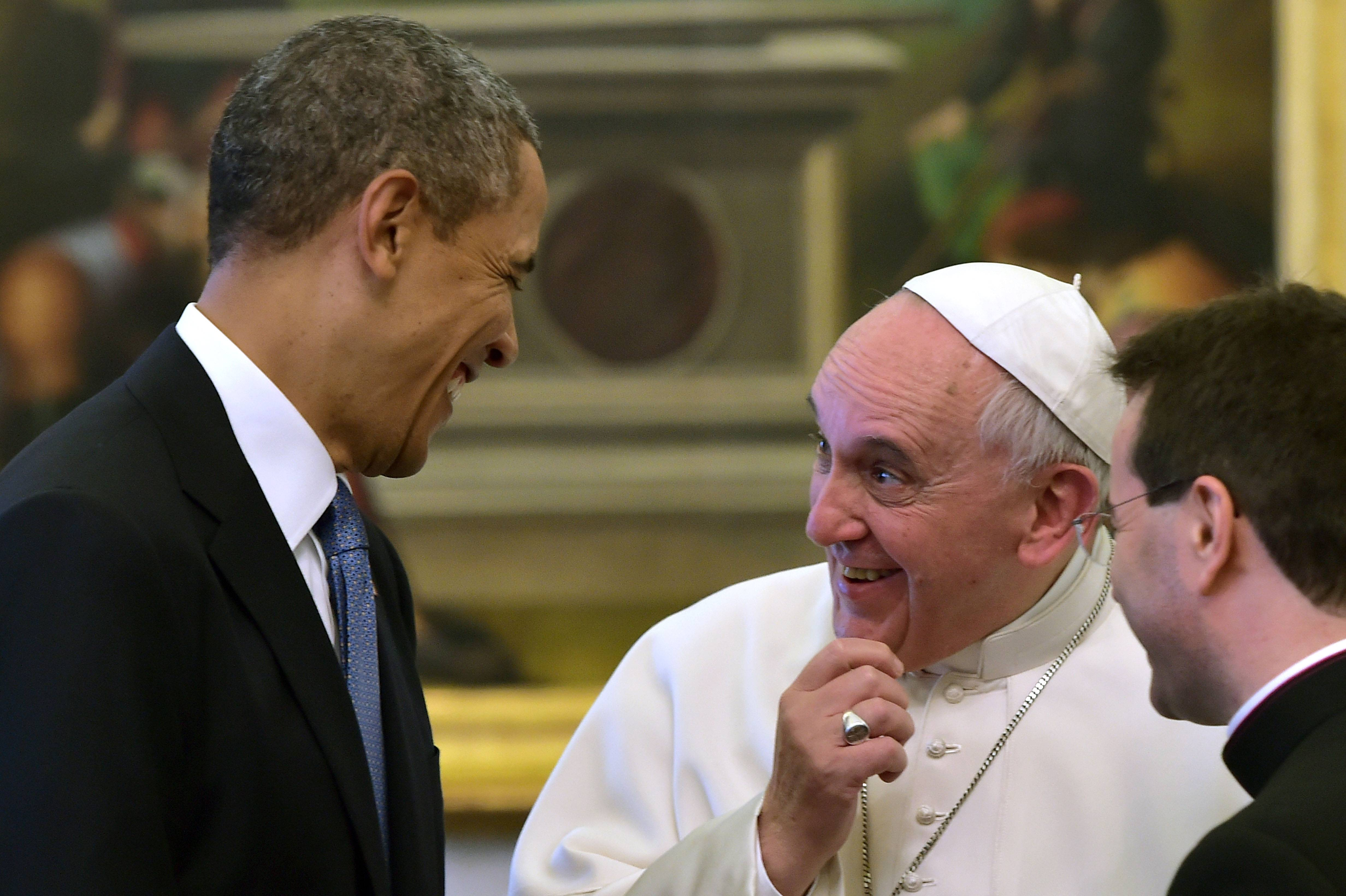 "Pope Francis and President Barack Obama convserse at the Vatican Thursday. Obama called himself a ""great admirer"" of the pontiff and considers him a kindred spirit on issues of economic inequality."