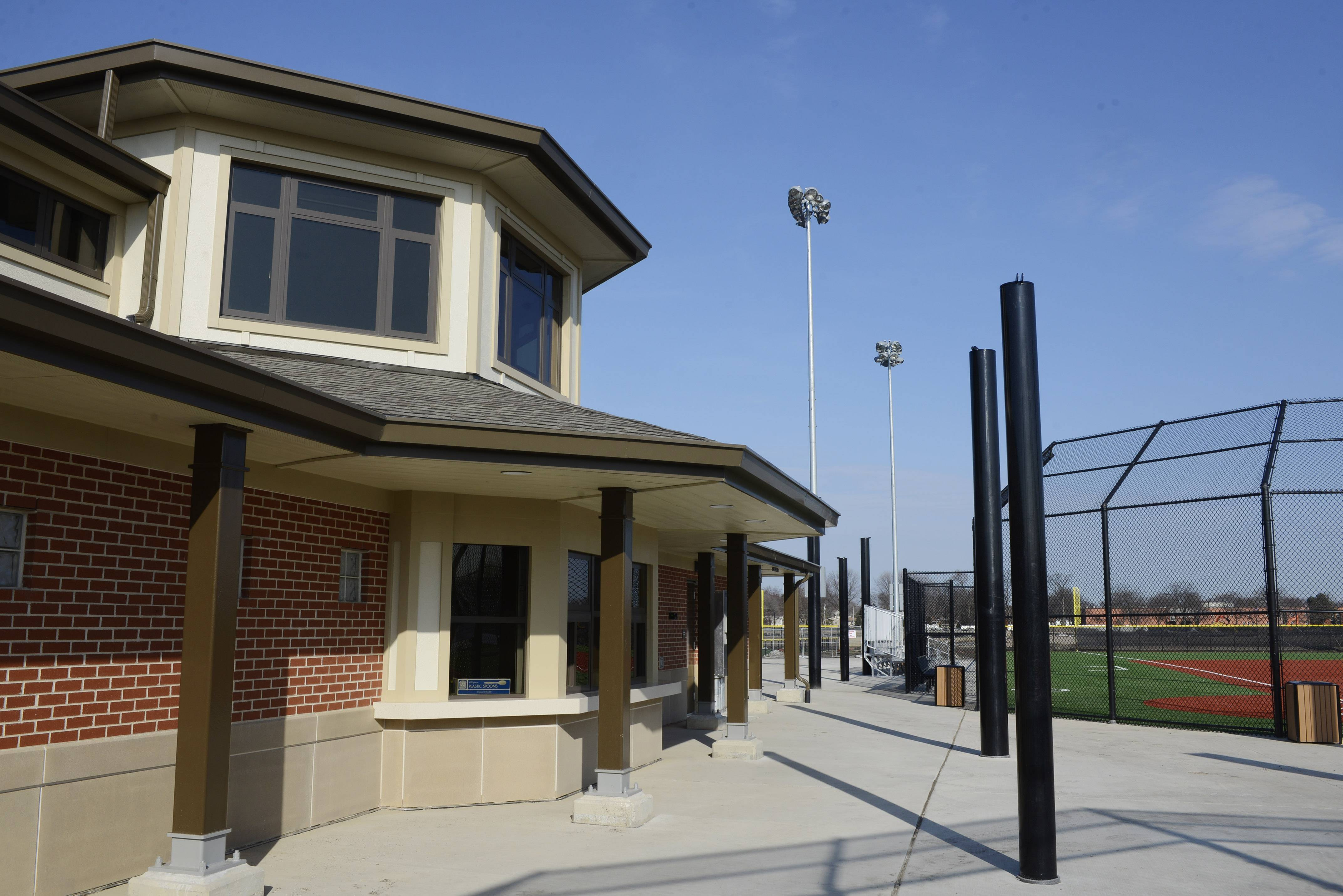 A two-story concession stand is part of the Wheeling Park District's new athletic complex at Heritage Park.