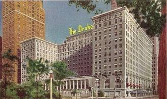 Chicago's Drake Hotel as picture in a circa 1950 postcard.