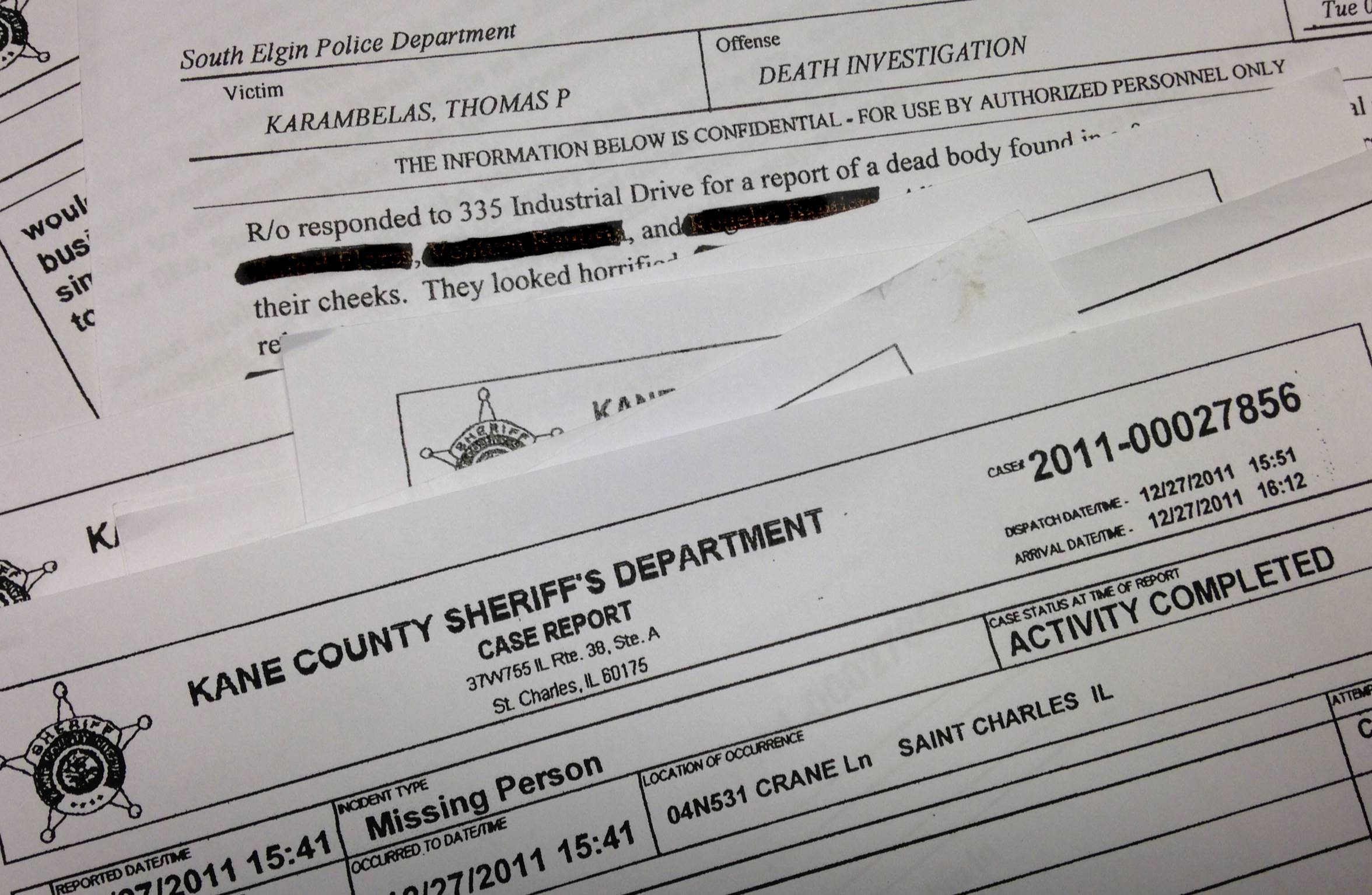 Kane County sheriff's department documents from the Karambelas case.