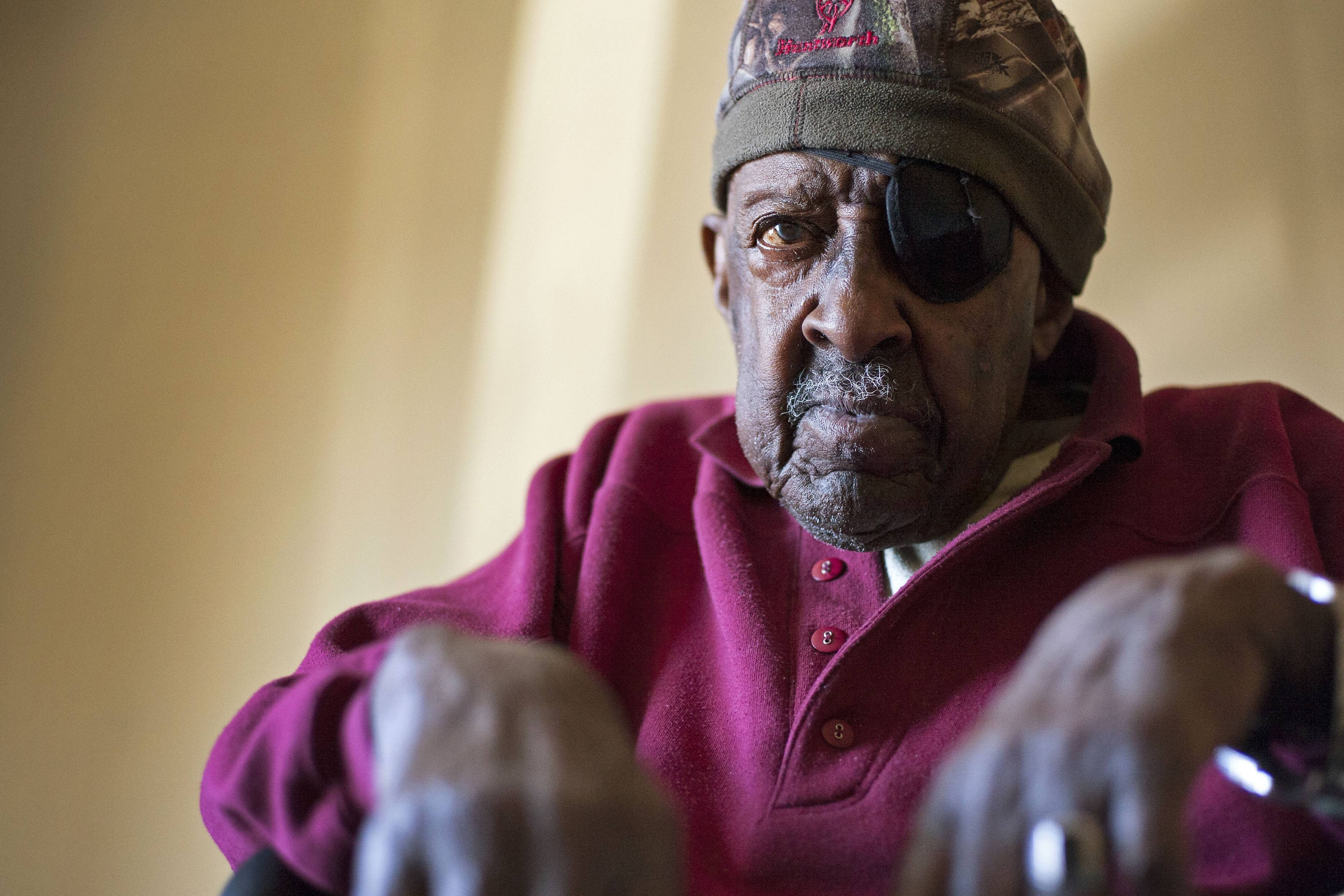 Samuel Wesley Samples, an 88-year-old World War II veteran, at the American Best Value Inn in Marion.
