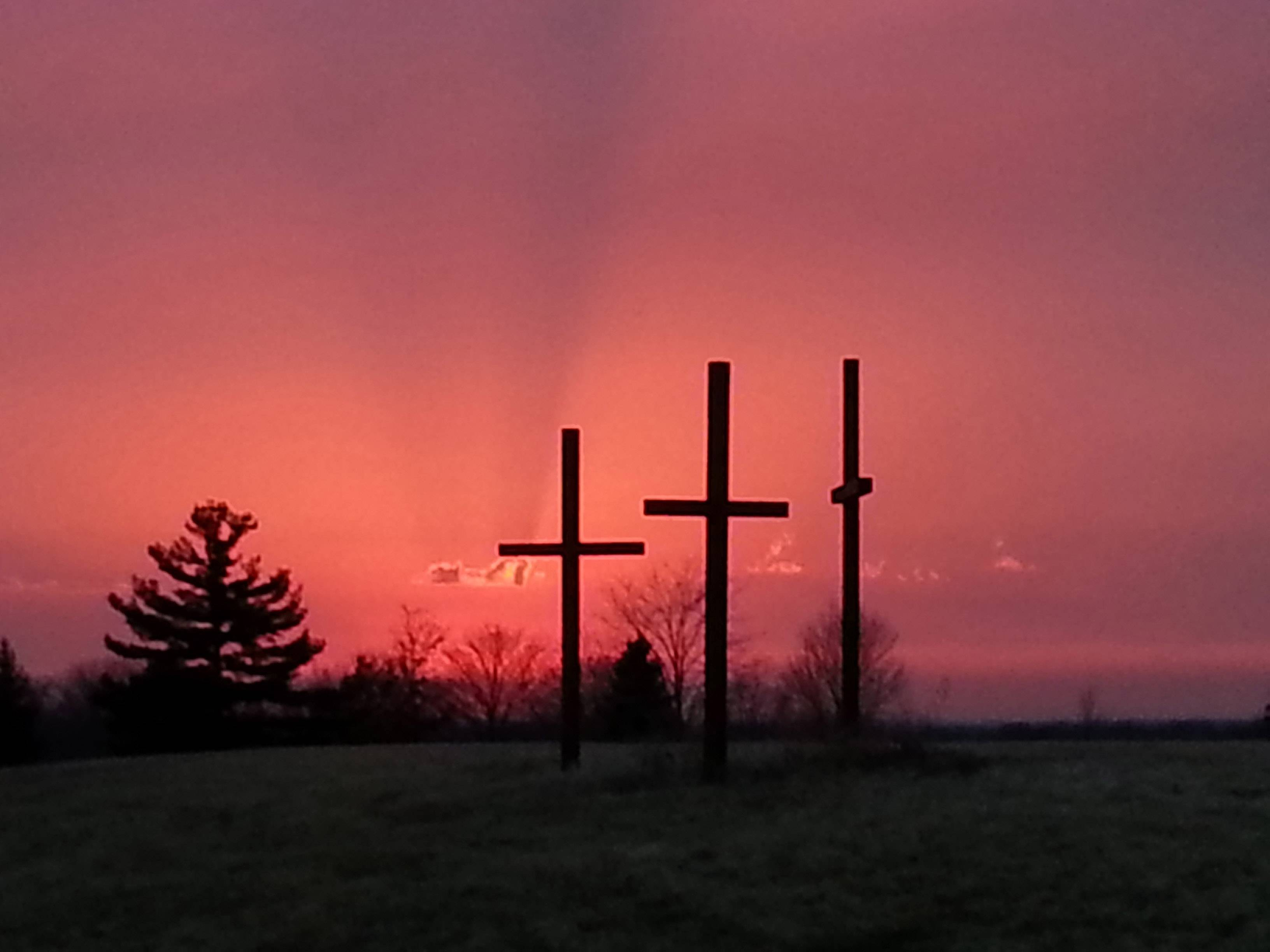 This beautiful sunset behind the trinity of crosses located on Marmion's property caught my eye. The warmth of the glow captured the essence of the season.