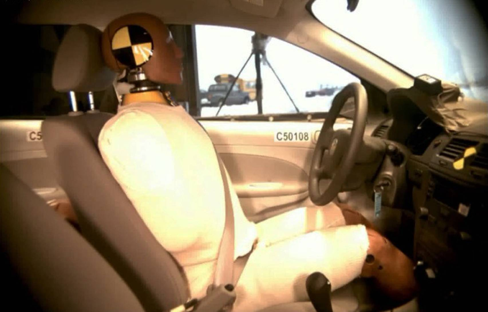 This undated image taken from video shows the National Highway Traffic Safety Administration (NHTSA) crash test of a  2005 General Motors Cobalt.
