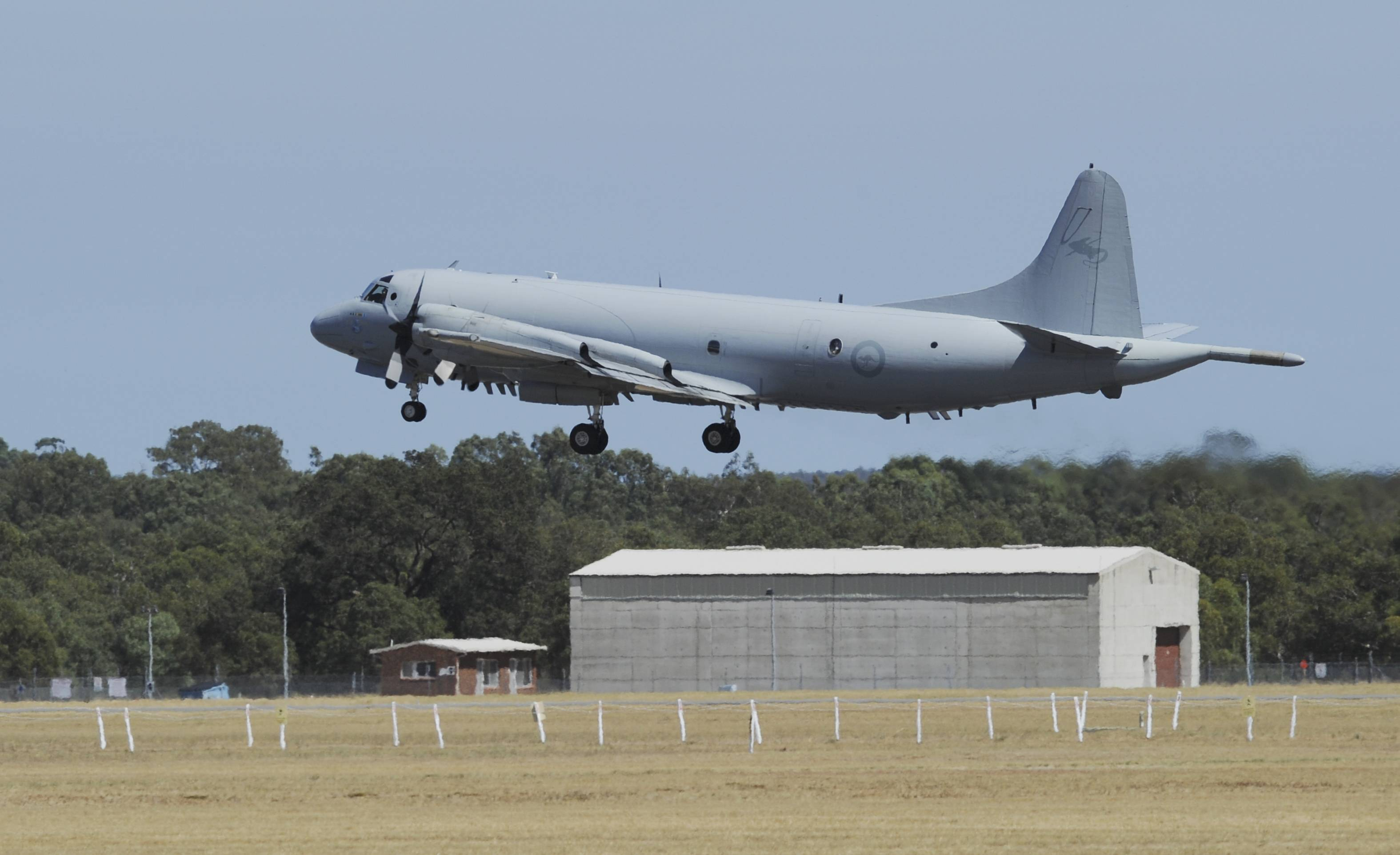 An Royal Australian Air Force AP-3 Orion aircraft takes off from Pearce Airbase, north of Perth, Australia, Friday.
