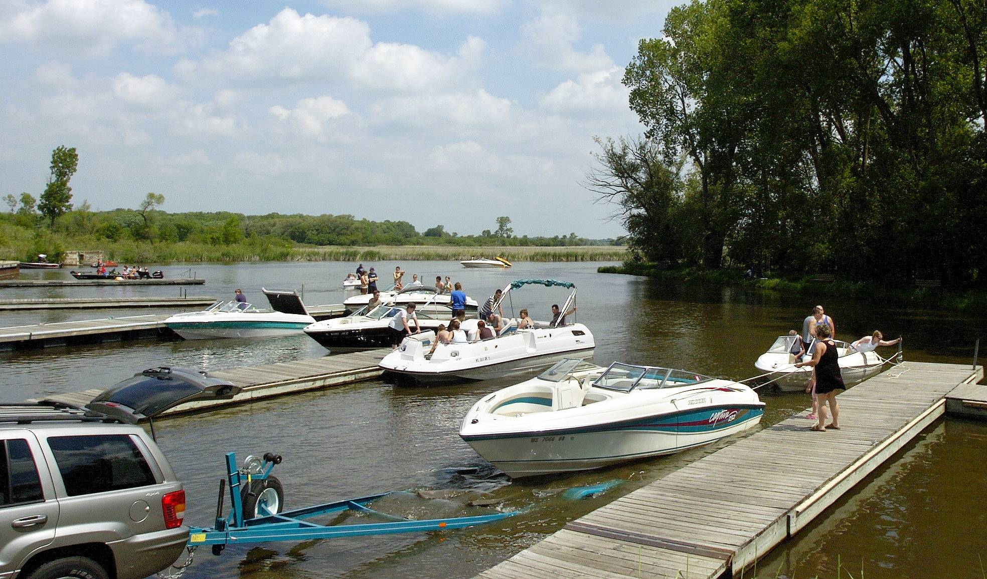 The boat launch at Chain O' Lakes State Park receives a lot of traffic from fisherman and pleasure boaters alike.