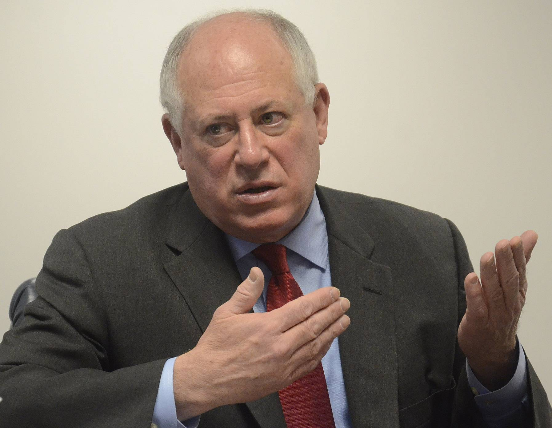 Gov. Pat Quinn speaks to the Daily Herald editorial board on Friday about his proposal to make permanent the 2011 income tax increase.