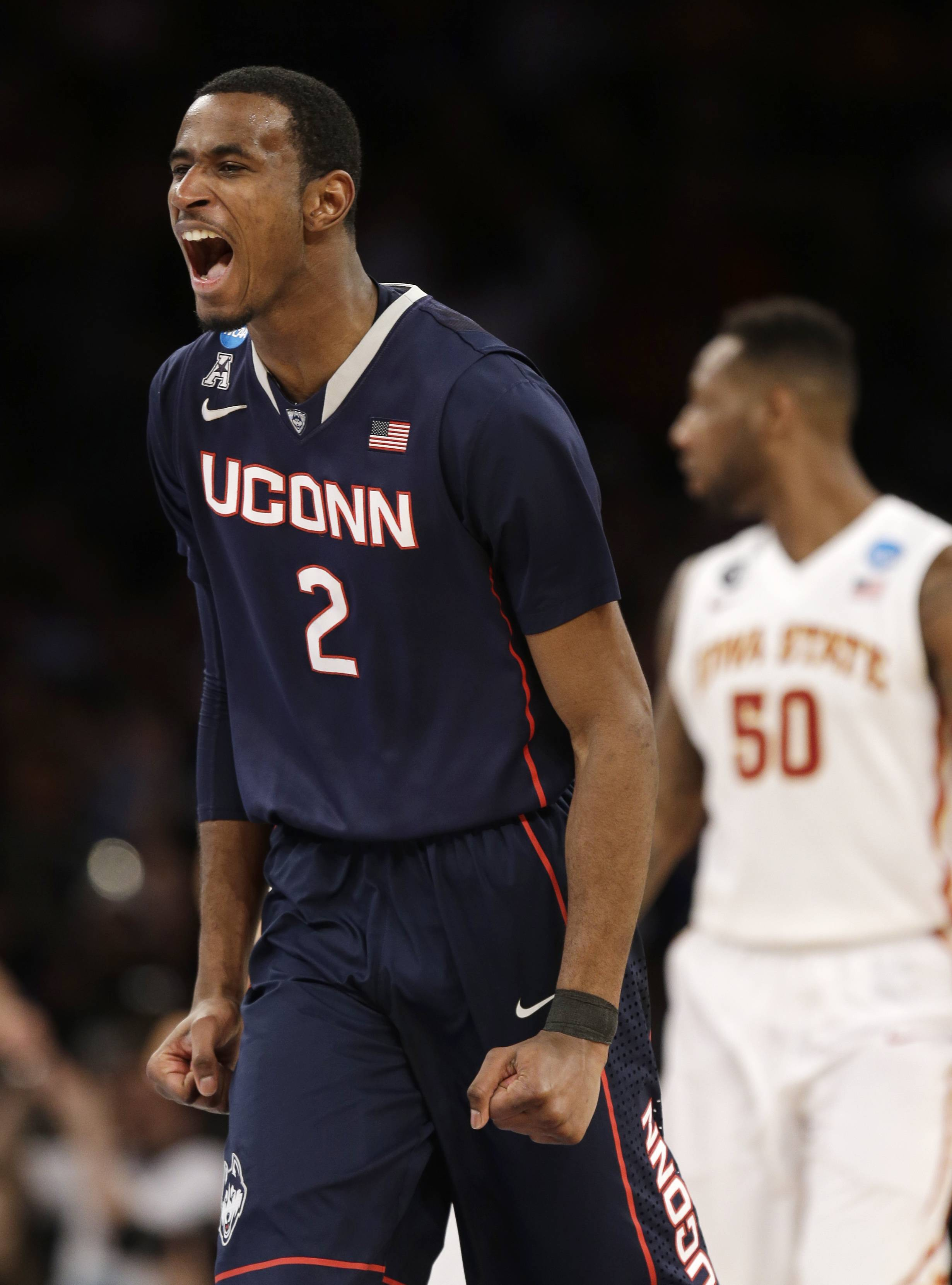 Connecticut's DeAndre Daniels has plenty of reasons to celebrate Friday. He scored 27 points, including 19 in the second half, to lead the Huskies over Iowa State to earn a berth in the East regional championship.