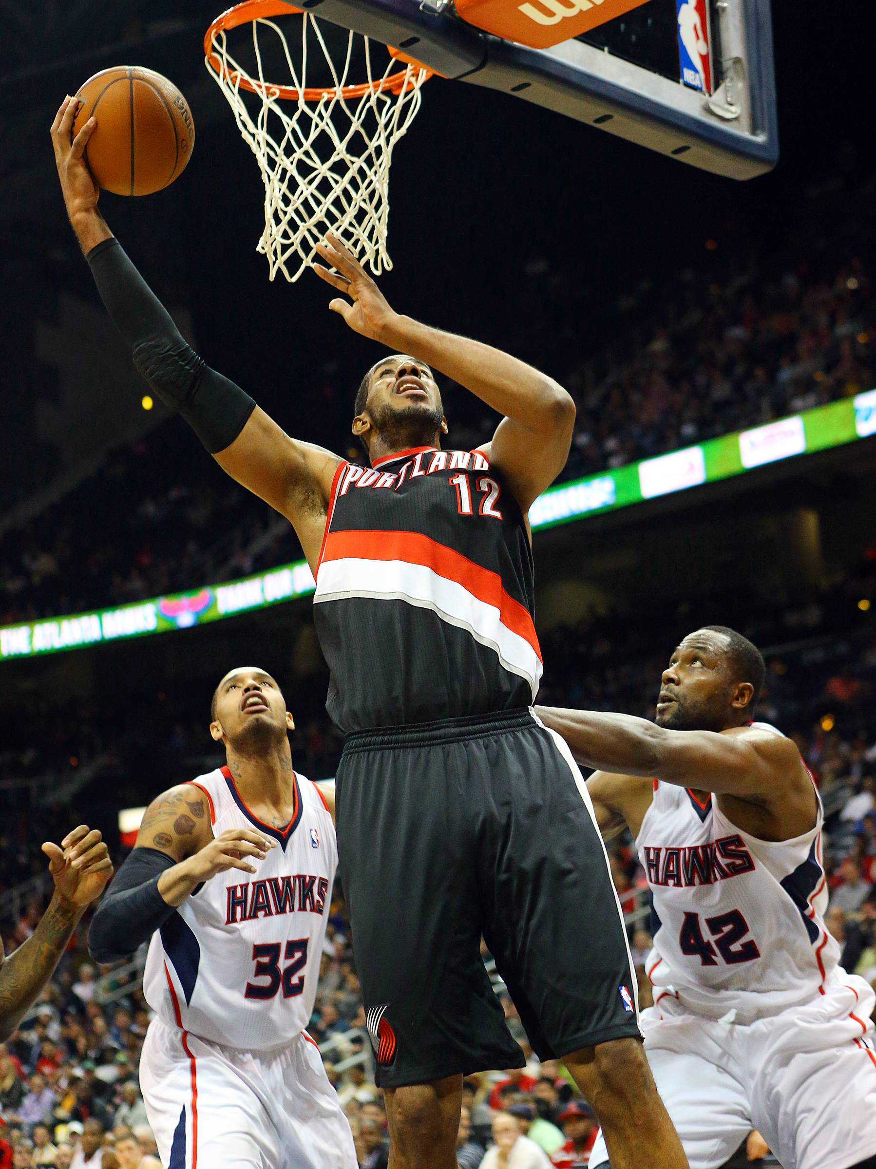 Portland's LaMarcus Aldridge gets the rebound and lays it up for 2 of his team-high 25 points Thursday night at Atlanta.