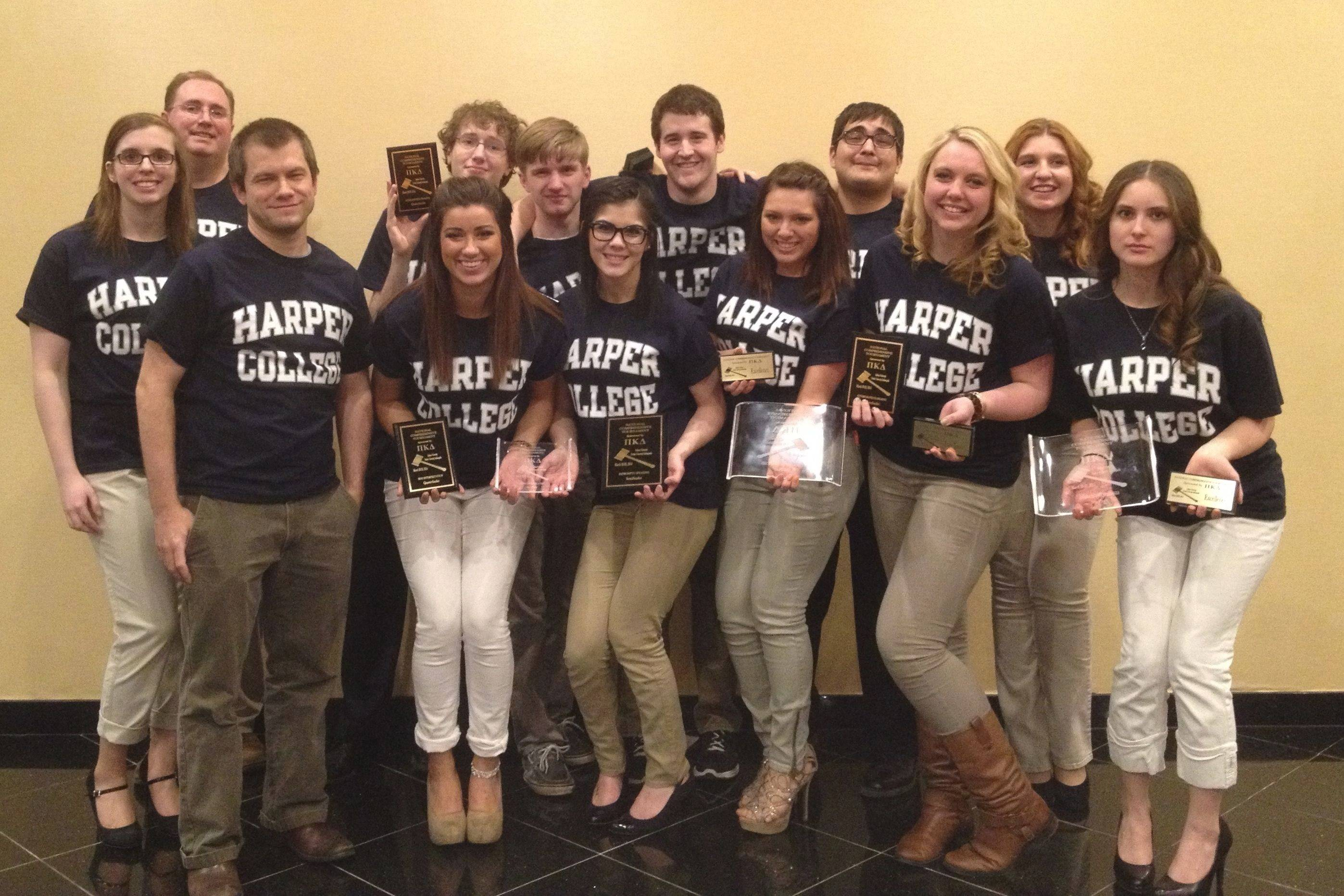 The Harper College Speech Team returned from the Pi Kappa Delta National Speech and Debate tournament with a first place in the Community College division and a ninth overall finish.