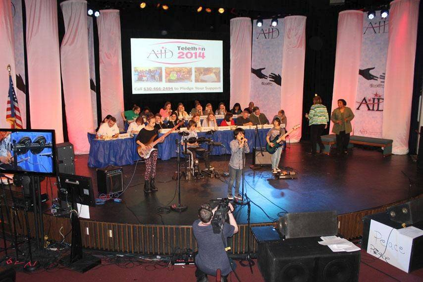 Live Wire, a young rock band from the western suburbs, performs at the 15th annual AID Telethon on March 15.