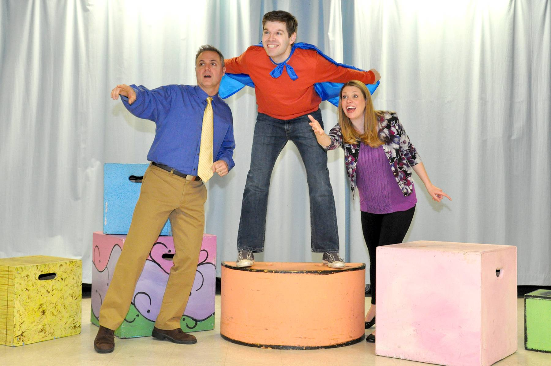 "Cast members rehearse for ""The Musical Adventures of Flat Stanley"" on March 25. Shown (L-R): Peter Robel, Mike Danovich, and Erika Sjogren.Northbrook Park District"