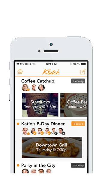 The planning app Klutch is designed to take the back and forth out of scheduling by making it immediate, easy and fluid so you can spend more time hanging out and less time planning to hang out.