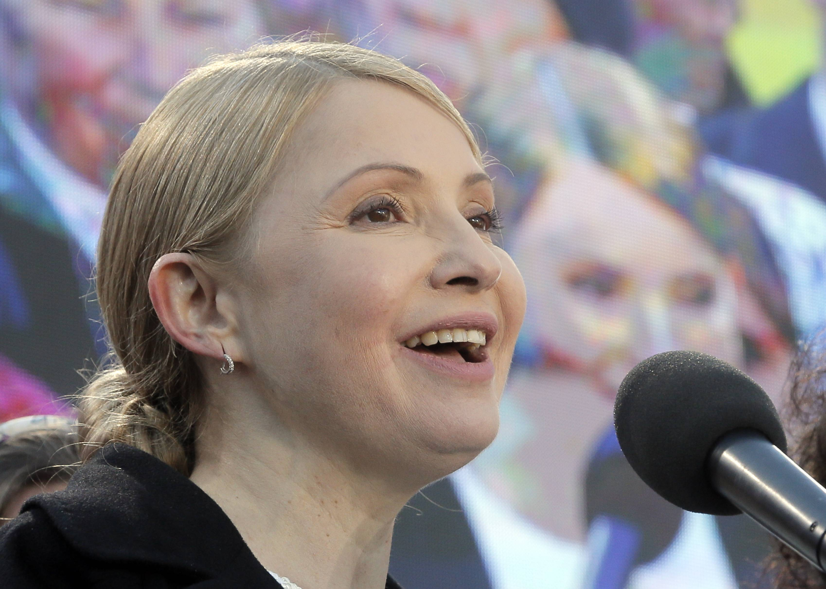 Former Ukrainian Prime Minister Yulia Tymoshenko delivers a speech Saturday during the Batkivshchyna (Fatherland) party congress in Kiev, Ukraine.