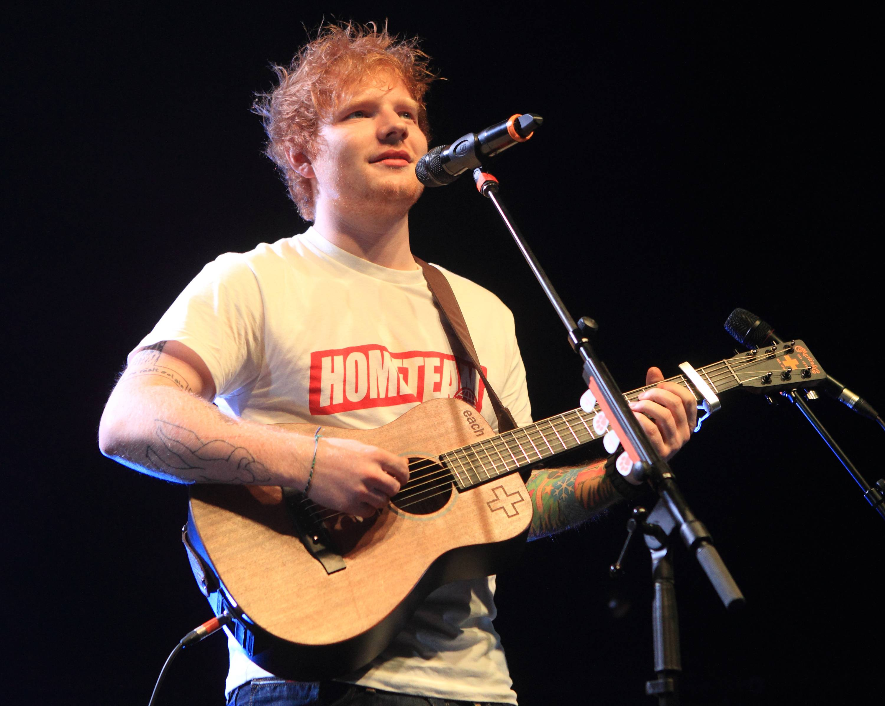 "English singer-songwriter Ed Sheeran performs in concert at the Carpenter Center at the University of Delaware in Newark, Del. Sheeran covers Elton John's ""Candle In the Wind,"" on the 40th anniversary edition of the 1973 album, ""Goodbye Yellow Brick Road."""