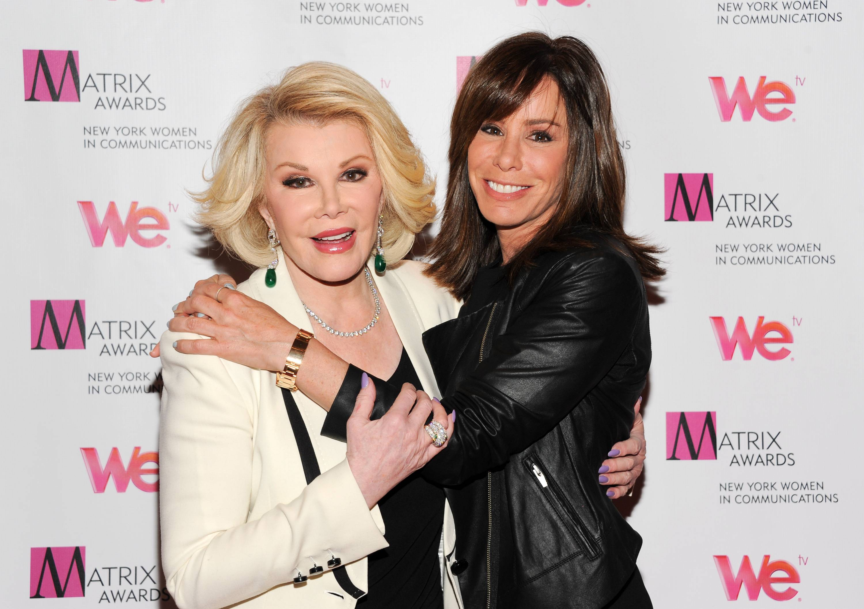 "TV personalities Joan Rivers, left, and daughter Melissa Rivers at the 2013 Matrix New York Women in Communications Awards in New York. Rivers, who for more than a half-century has turned her life inside out for comedy, is starting her fourth season doing it for the reality show she shares with her daughter, Melissa. ""Joan & Melissa: Joan Knows Best?"" airs Saturdays at 10 p.m. on WEtv."