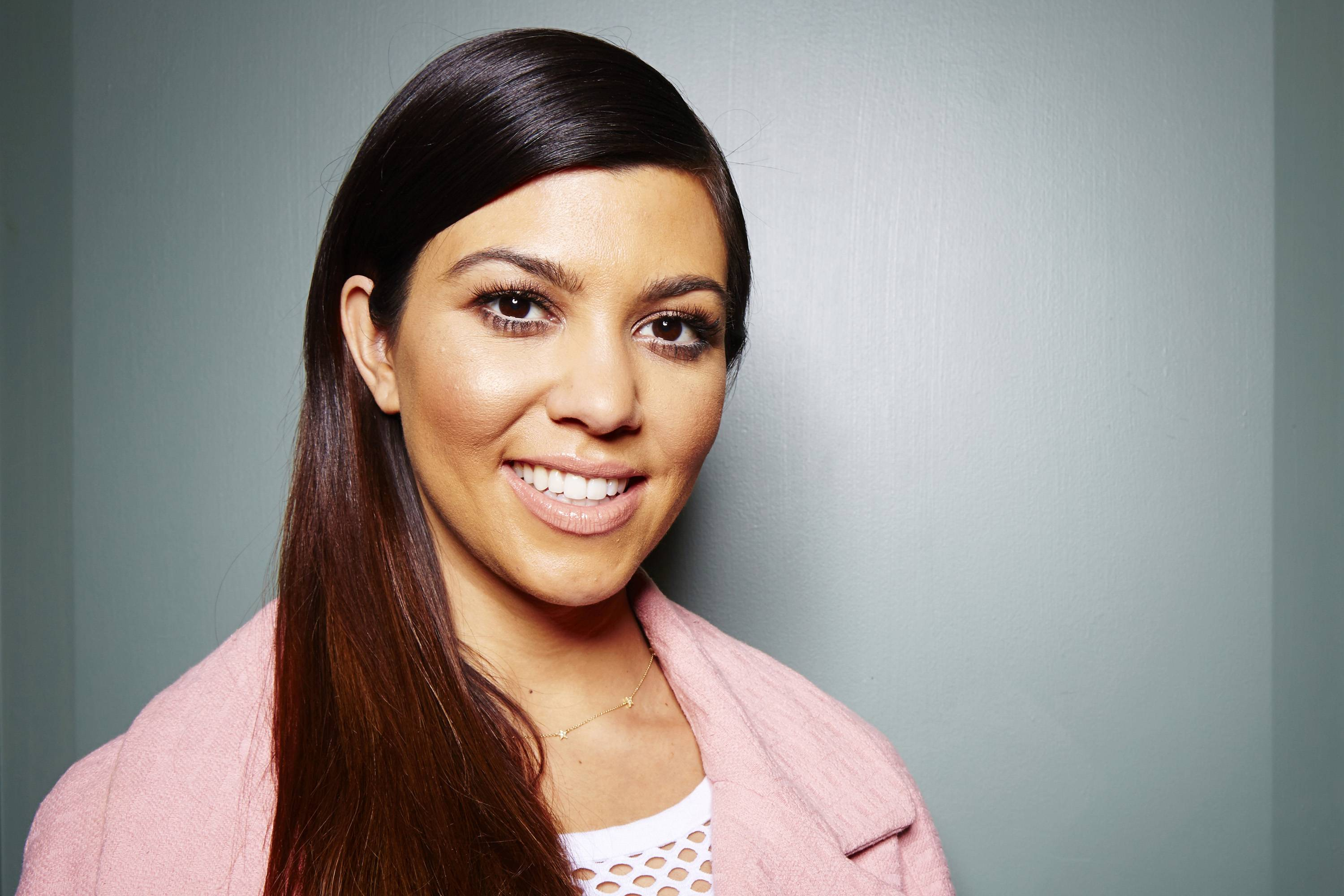 TV personality Kourtney Kardashian has been promoting the new Kardashian Kids clothing line, which is available at Babies R Us.
