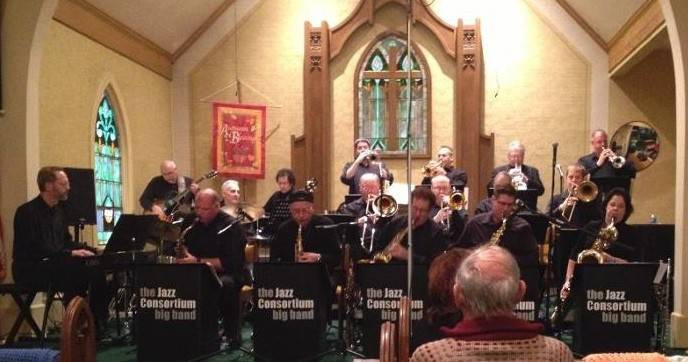 The 17-member Jazz Consortium Big Band presents a concert at the Congregational Church of Algonquin.